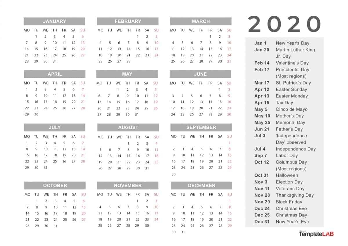 Calendar Labs 2020 | Free Printable Calendar-Calendar Labs