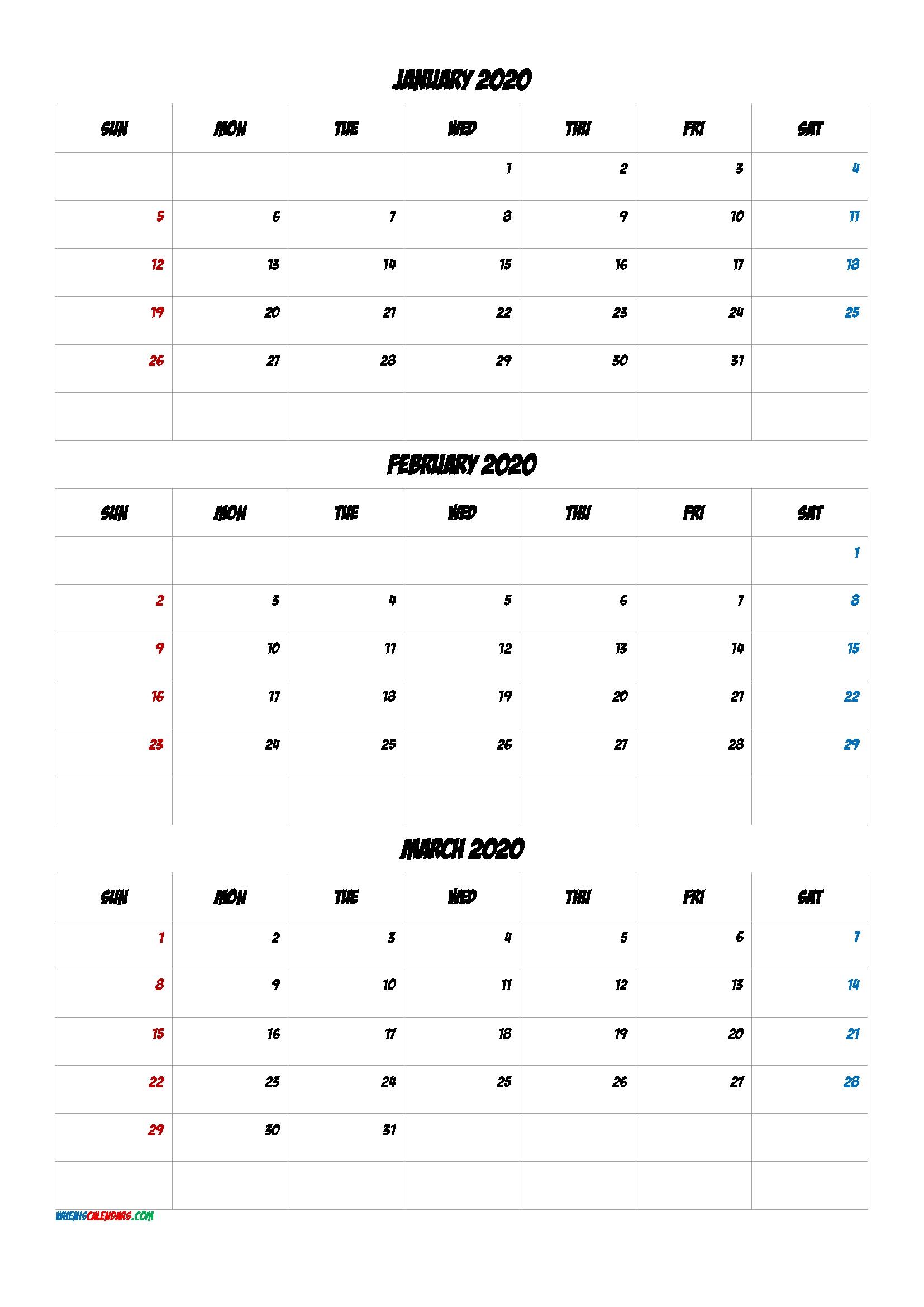 Calendar October November December 2020 [Q1-Q2-Q3-Q4] | Free