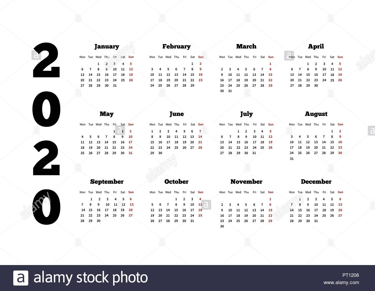 Calendar On 2020 Year With Week Starting From Monday, A4