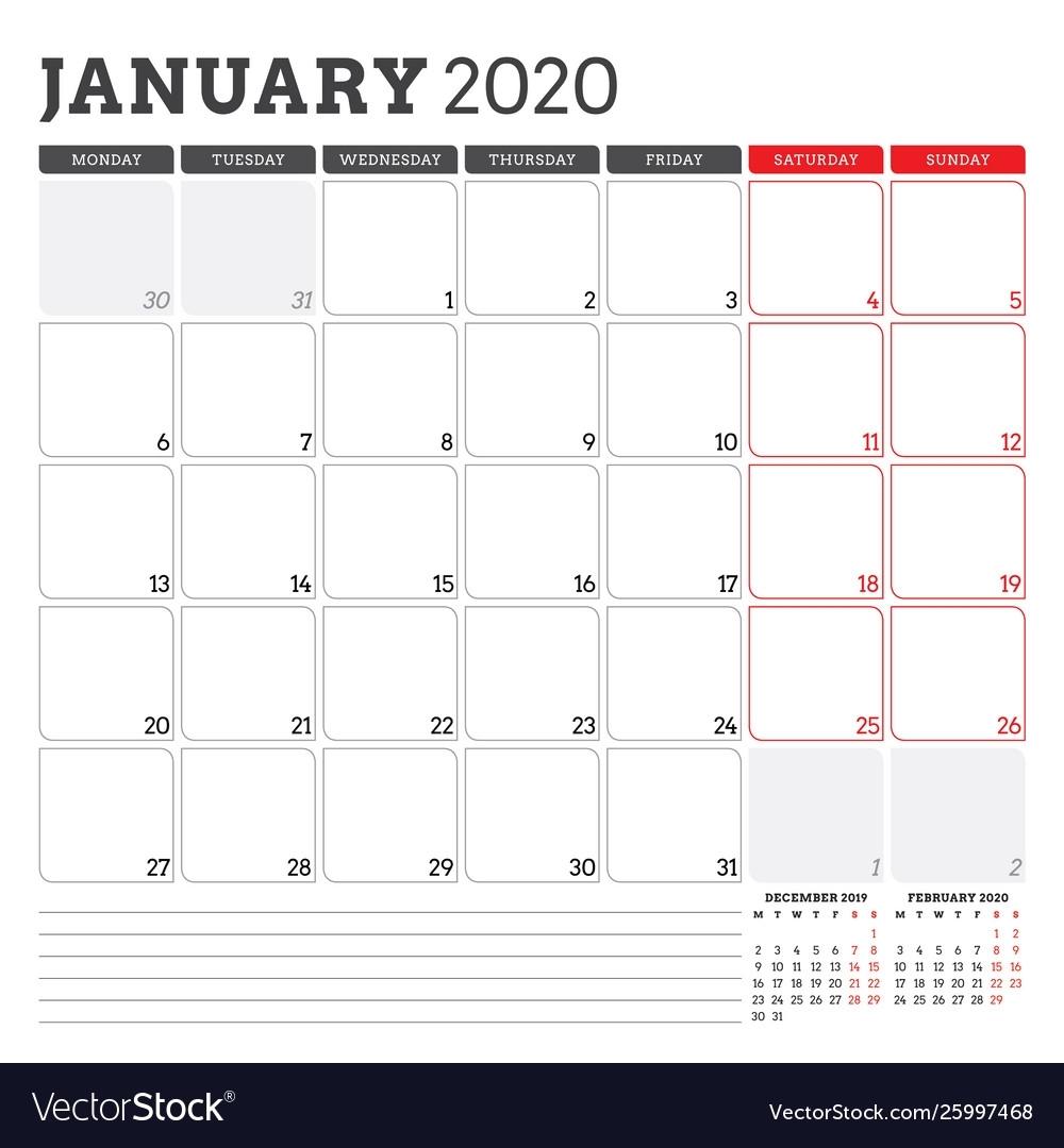 Calendar Planner For January 2020 Week Starts On