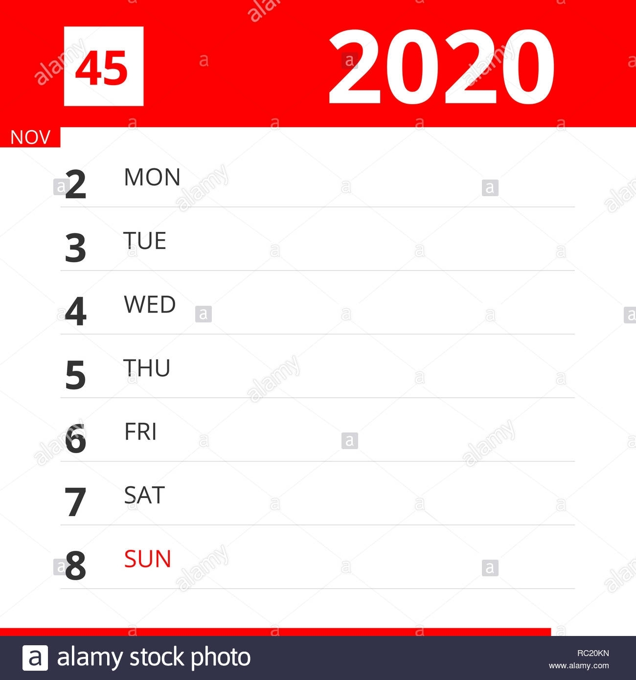 Calendar Planner For Week 45 In 2020, Ends November 8, 2020