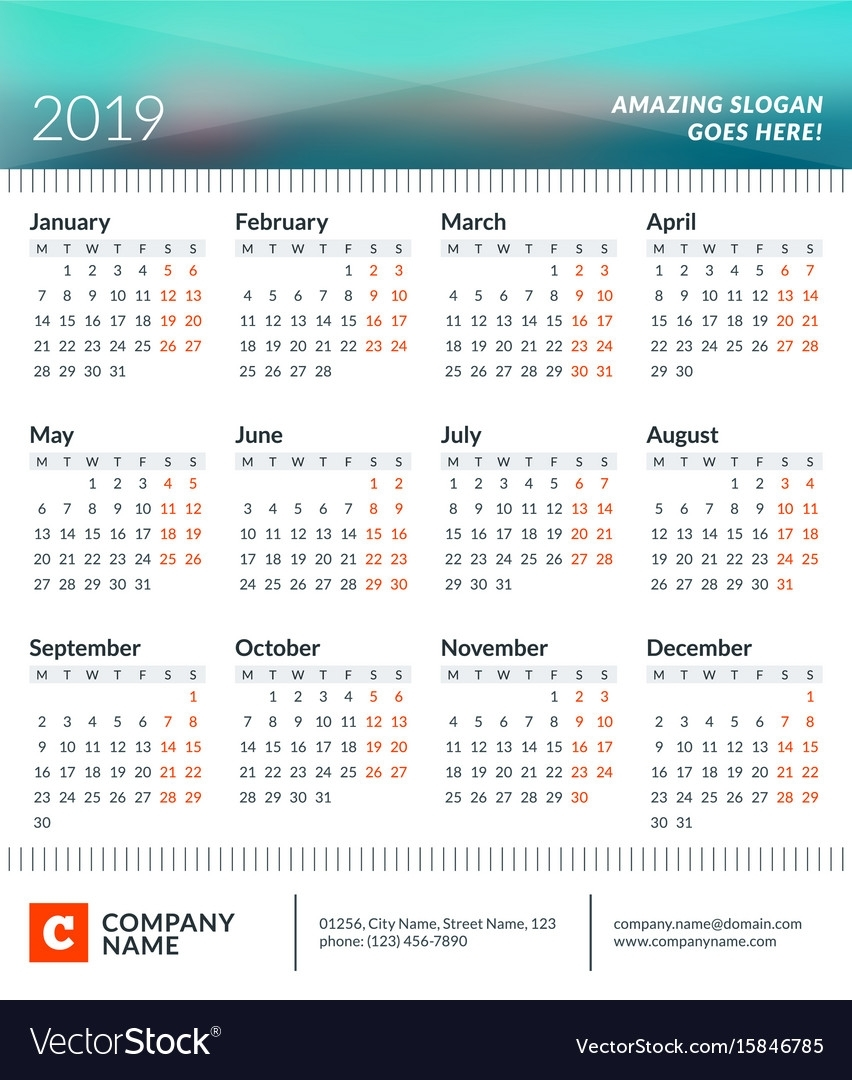 Calendar Poster For 2019 Year Week Starts On