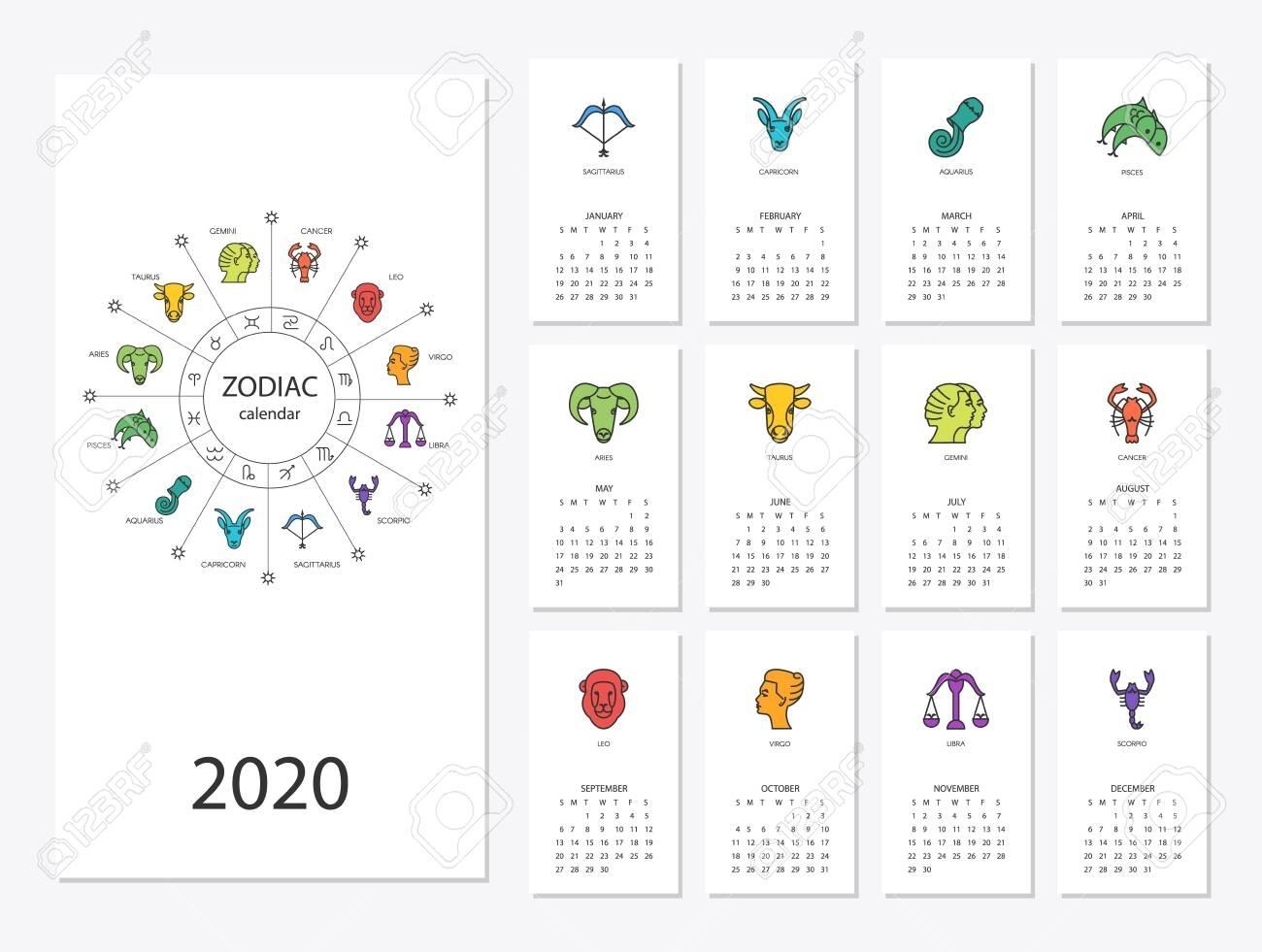 Calendar With Zodiac Signs 2020   Calendar Printables Free