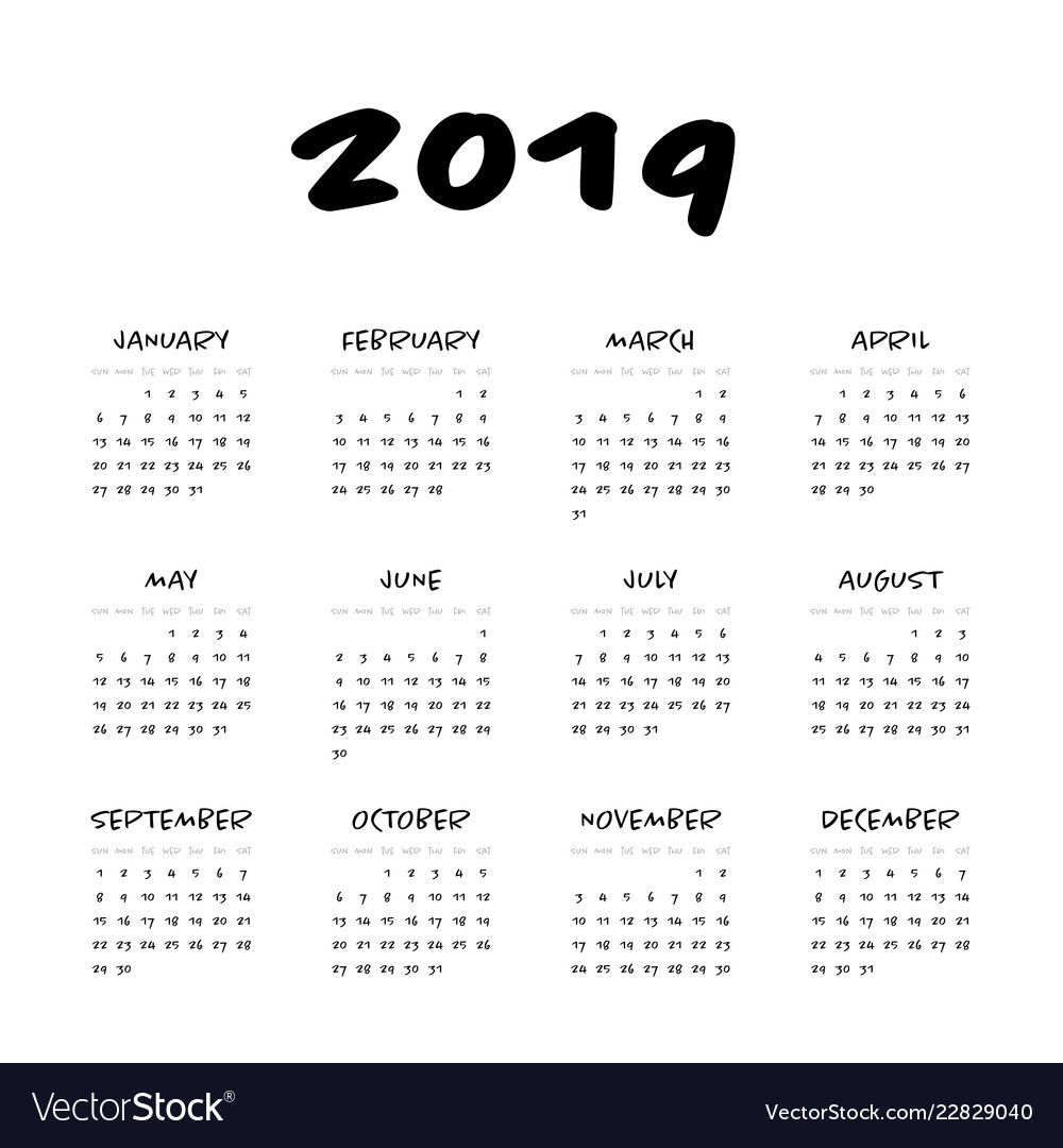 Calendar - Year 2019 Week Starts From