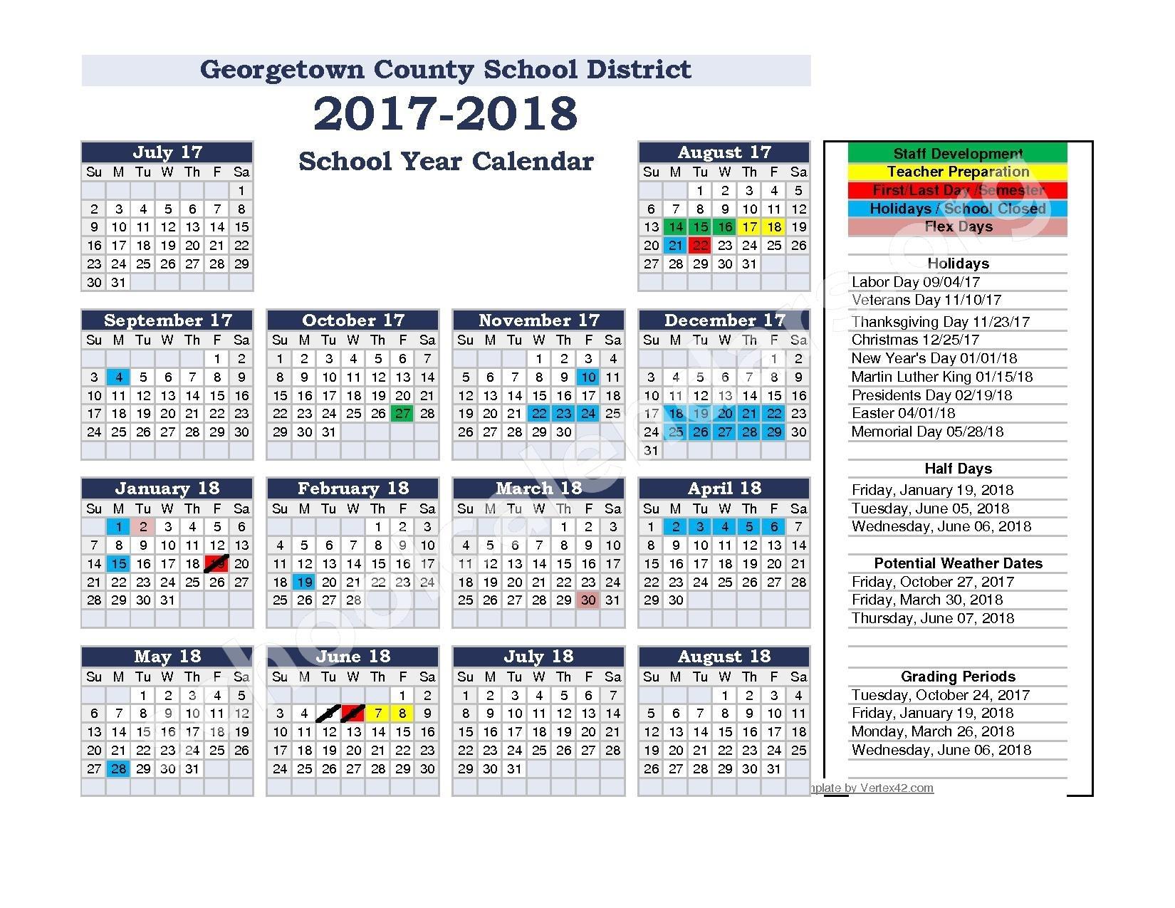 Calendars District Calendar Georgetown High School - Induced