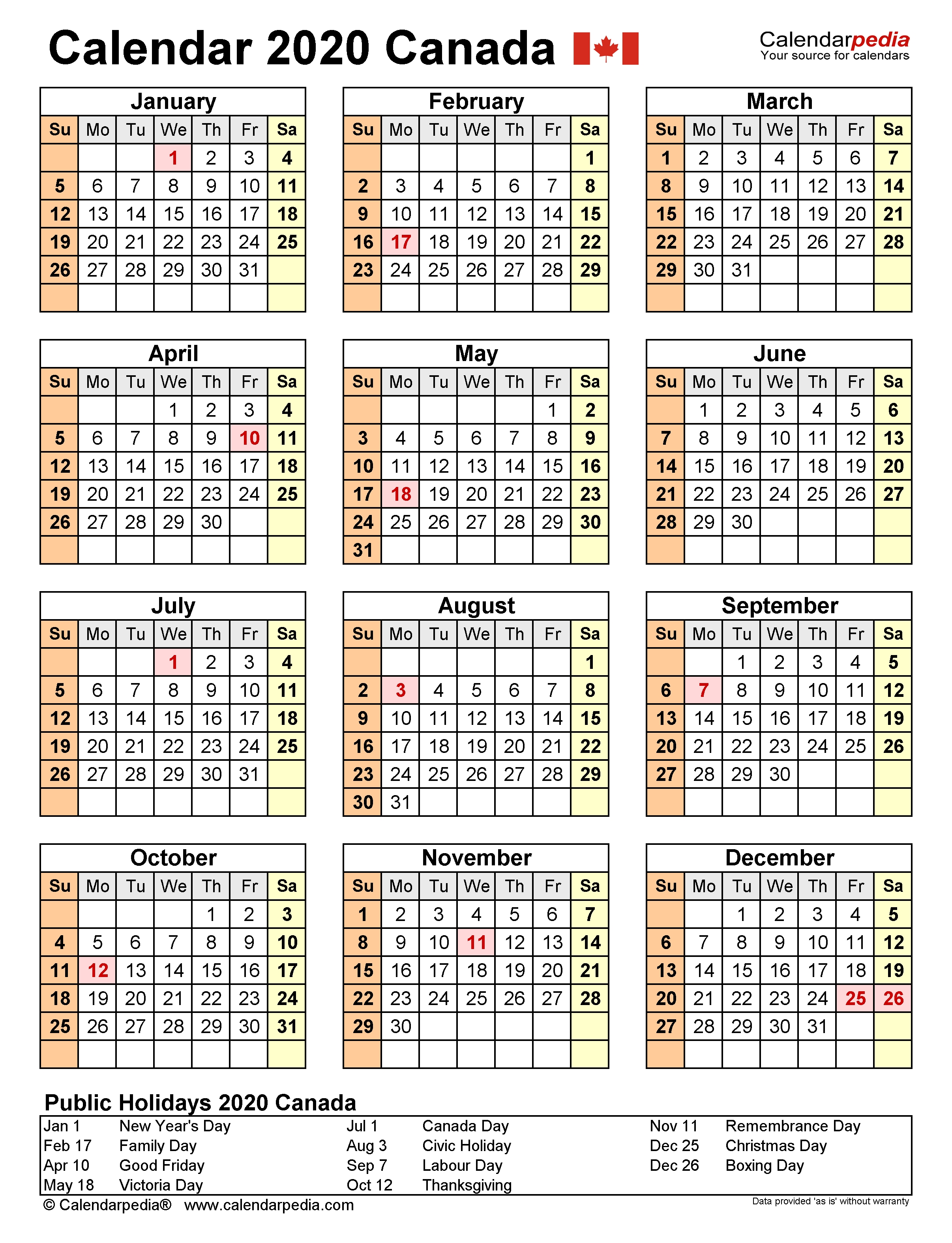 Canada Calendar 2020 - Free Printable Word Templates