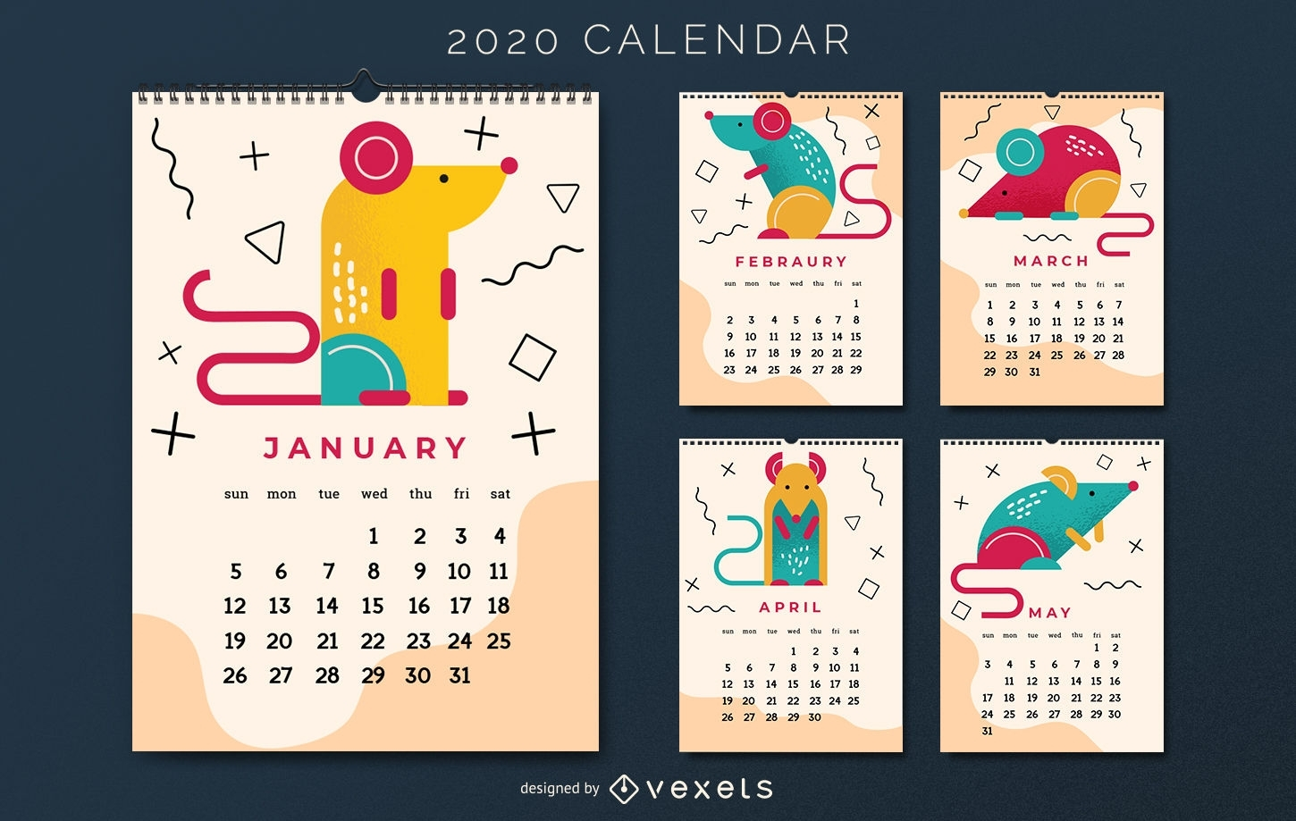 Chinese New Year Calendar Design - Vector Download