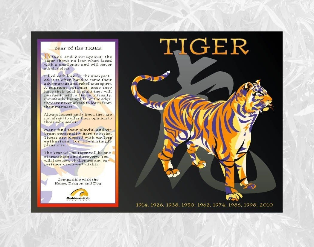 Chinese Zodiac Poster Year Of The Tiger: Birth Years 1914