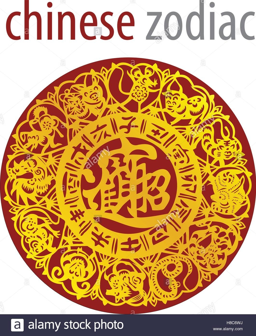 Chinese Zodiac Wheel With Signs And The Five Elements