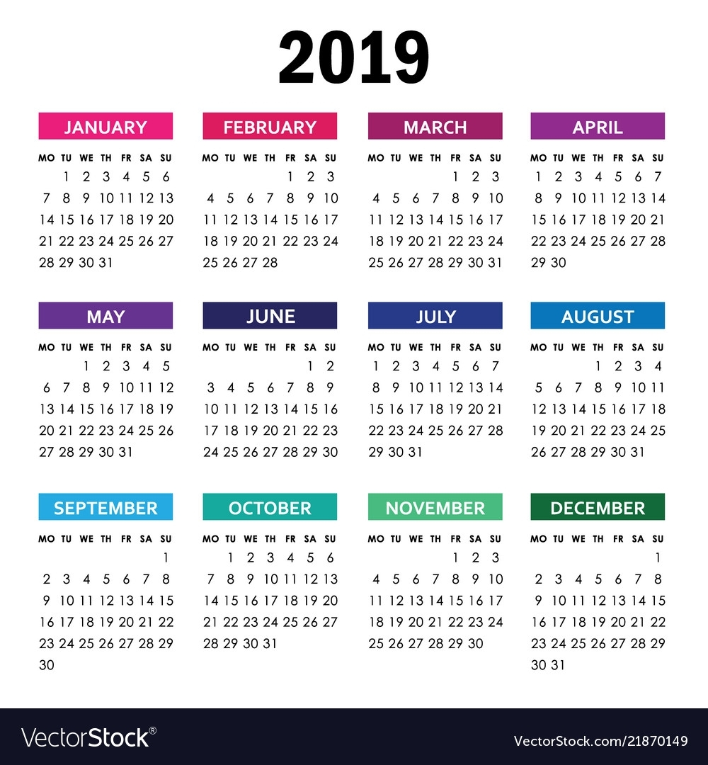 Colorful Calendar For 2019 Year Week Starts