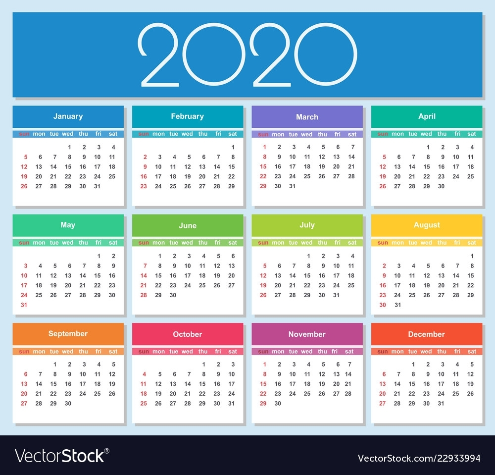 Colorful Year 2020 Calendar