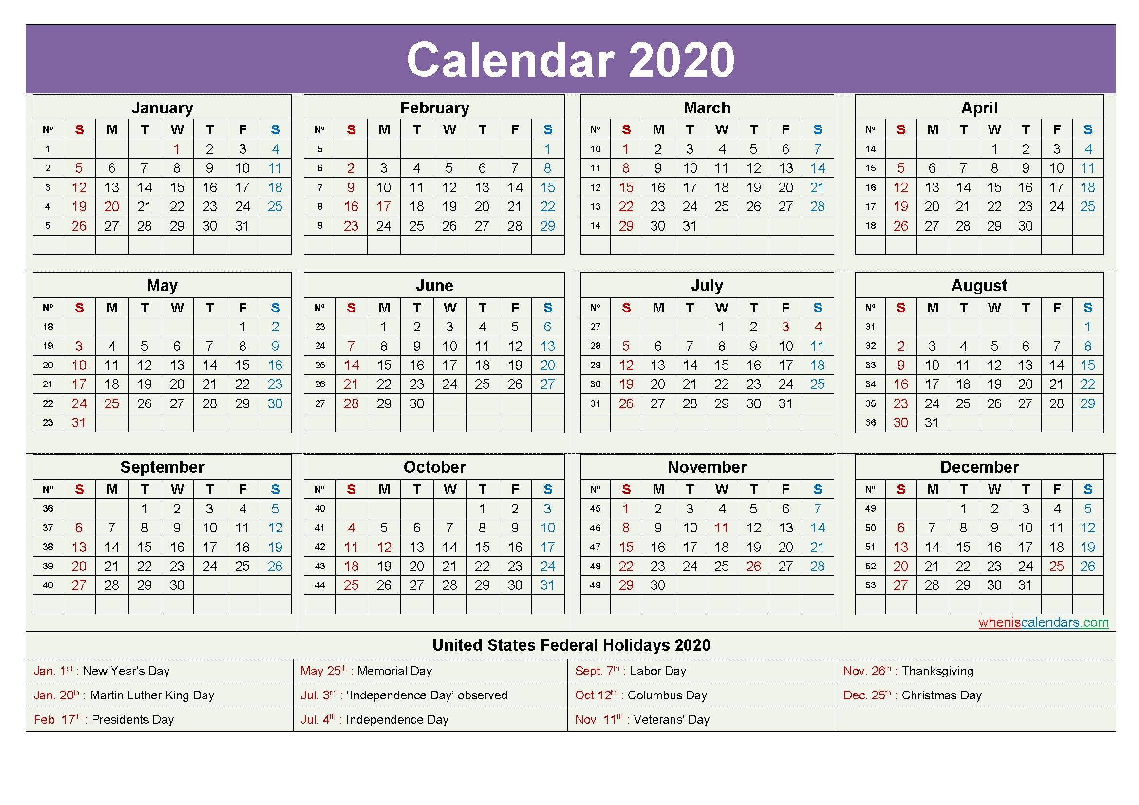 Computer Desktop Calendar 2020 With Holidays – Free