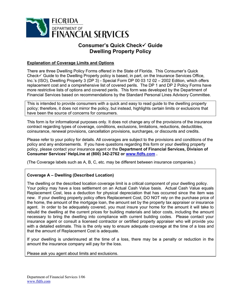 Consumer's Quick Check Dwelling Property Policy Guide