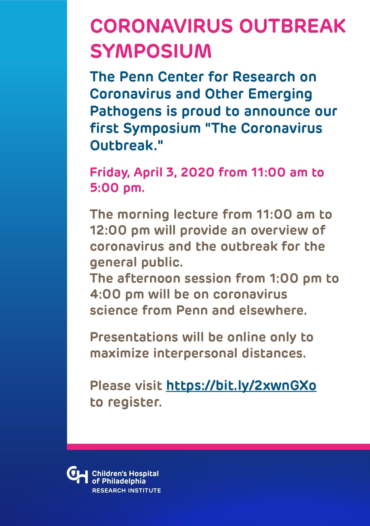 Coronavirus Outbreak Symposium | Chop Research Institute