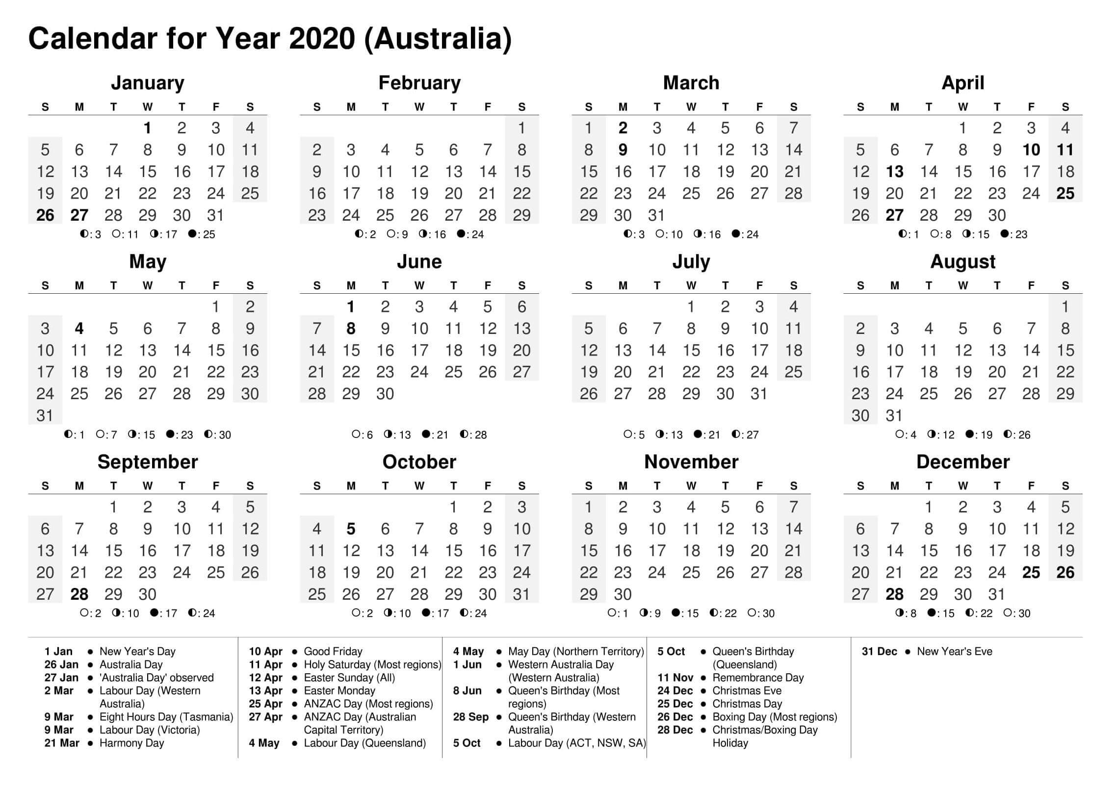 Cute Calendar 2020 On One Page | Free Printable Calendar Shop