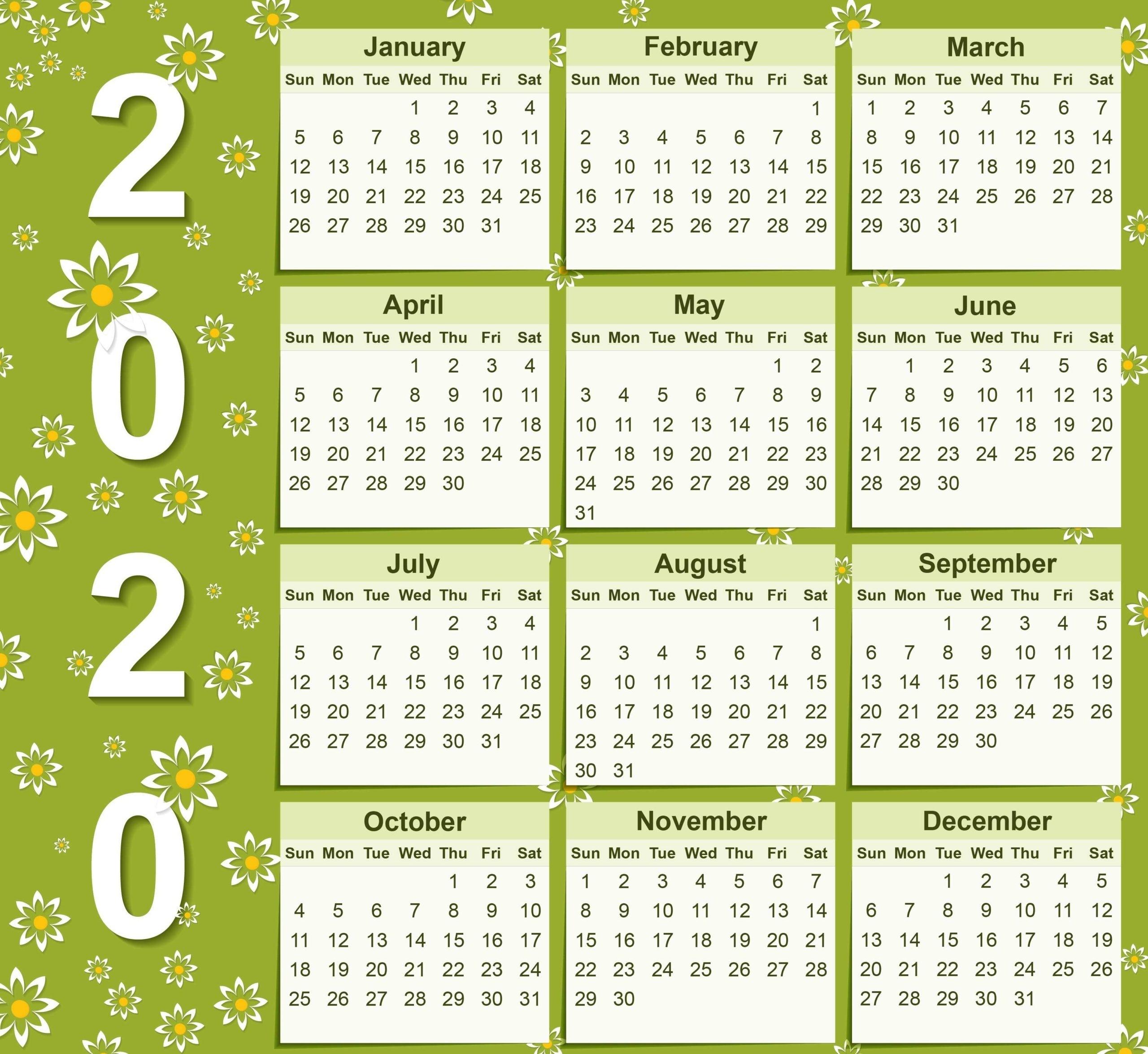 Cute Calendar 2020 Printable Designs | Calendarbuzz