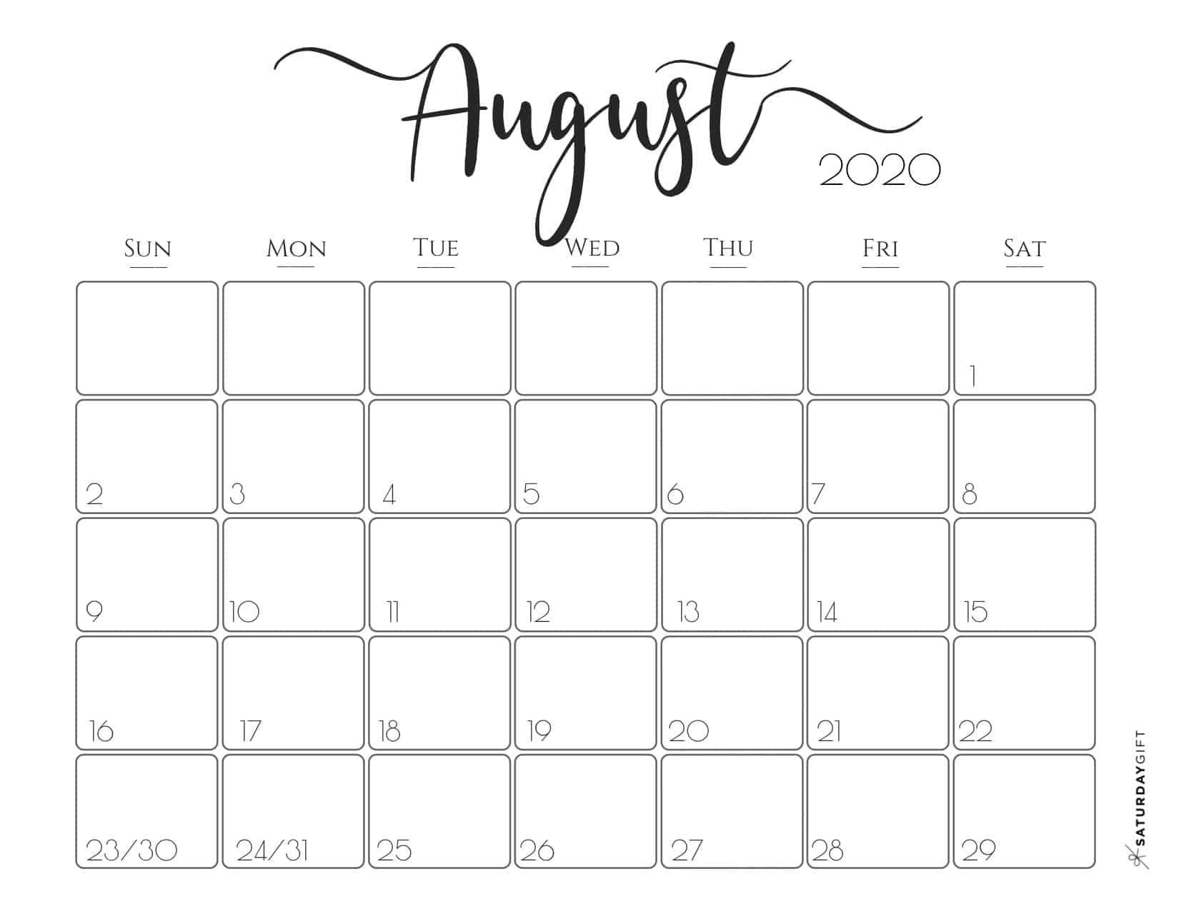 Cute (& Free!) Printable August 2020 Calendar | Free
