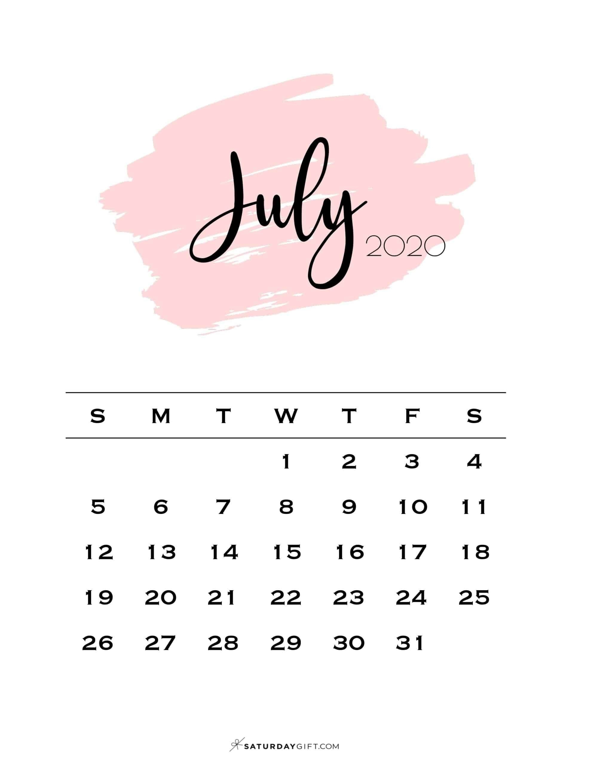 Cute (& Free!) Printable July 2020 Calendar In 2020