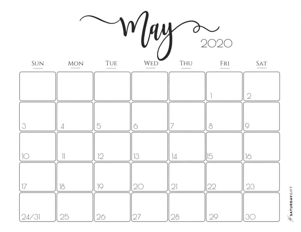 Cute (& Free!) Printable May 2020 Calendar | Saturdaygift