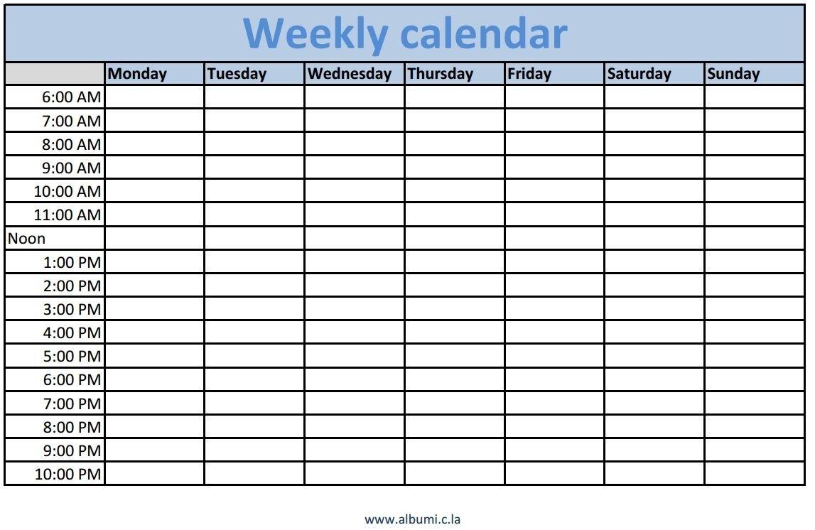 Cute Printable Blank Calendar Weekly Schedule | Blank Weekly