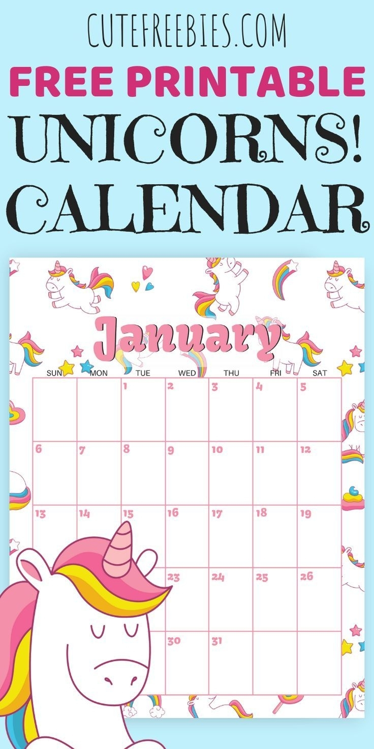 Cute Unicorn 2020 Calendar - Free Printable (With Images