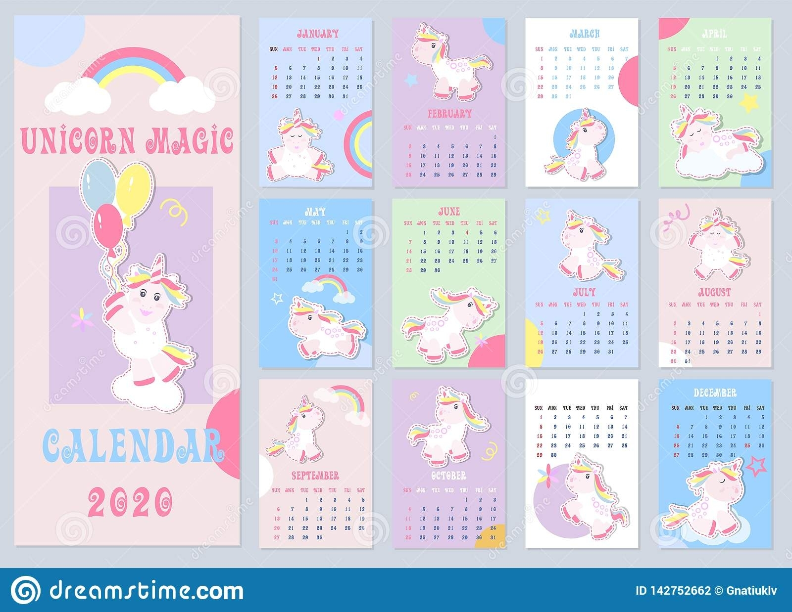 Cute Unicorn Calendar 2020