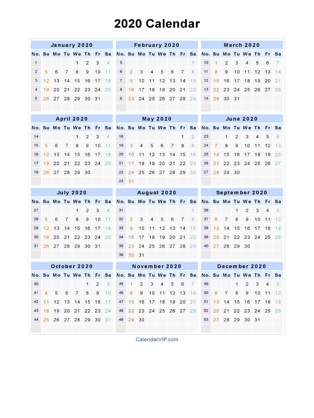 Dashing 2020 Calendar With Week Numbers (With Images