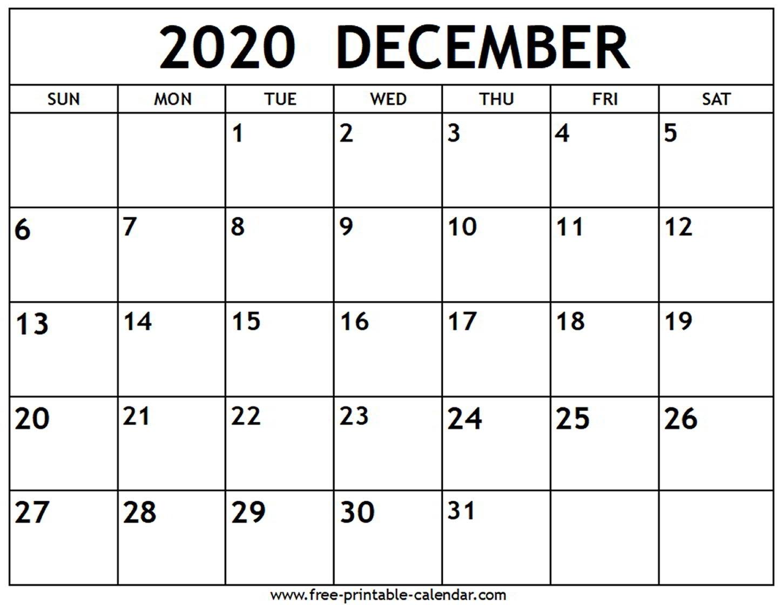 December 2020 Calendar - Free-Printable-Calendar