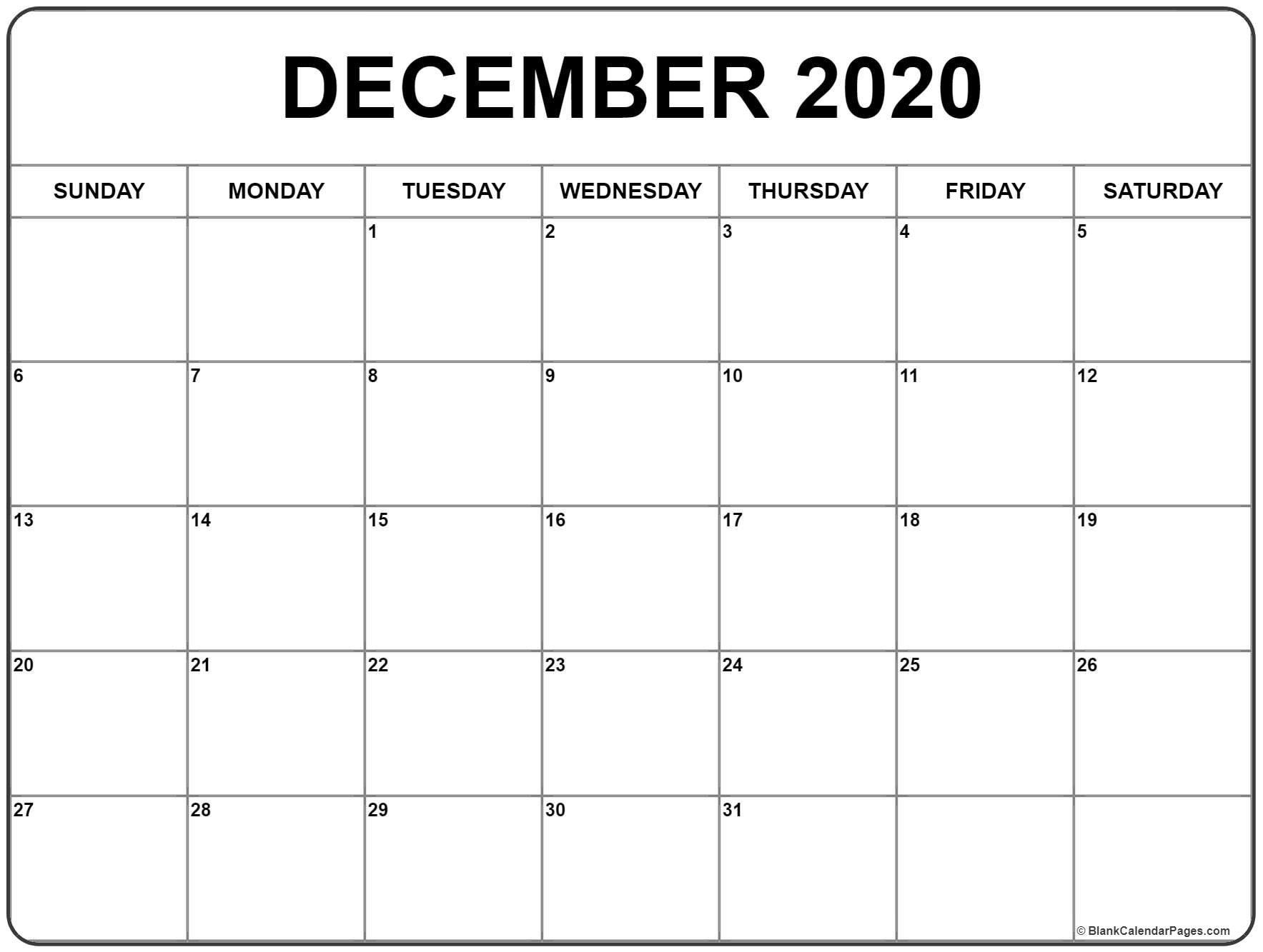 December 2020 Calendar   Free Printable Monthly Calendars