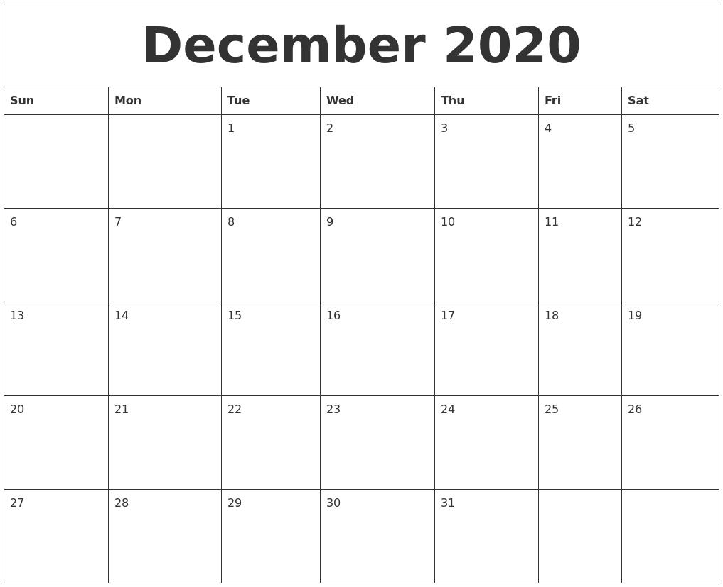 December 2020 Free Printable Weekly Calendar