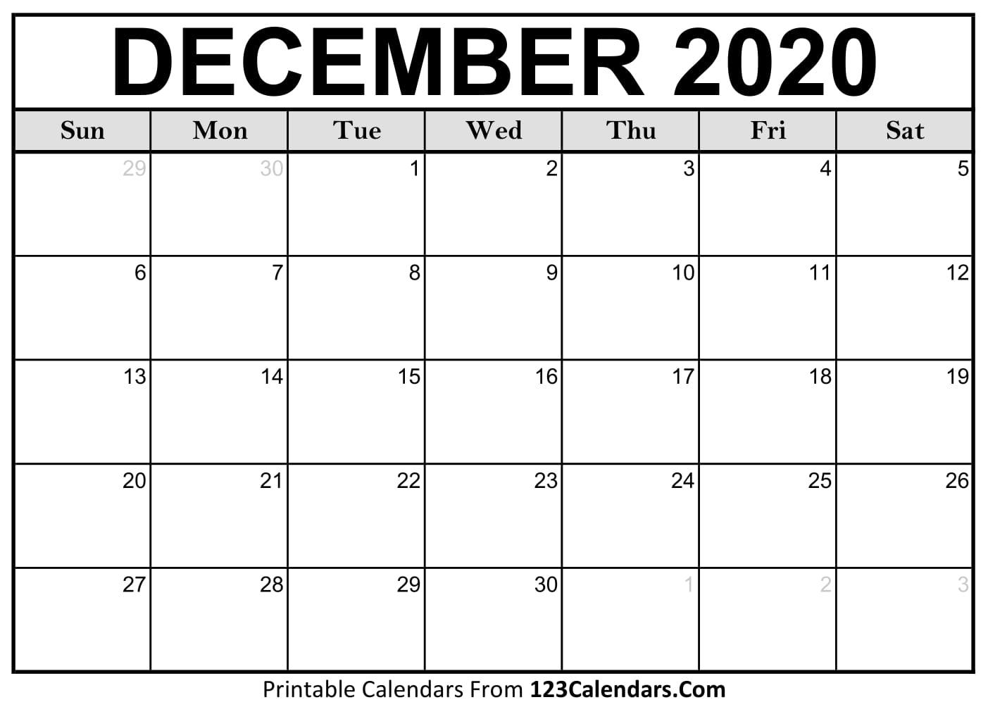 December 2020 Printable Calendar | 123Calendars