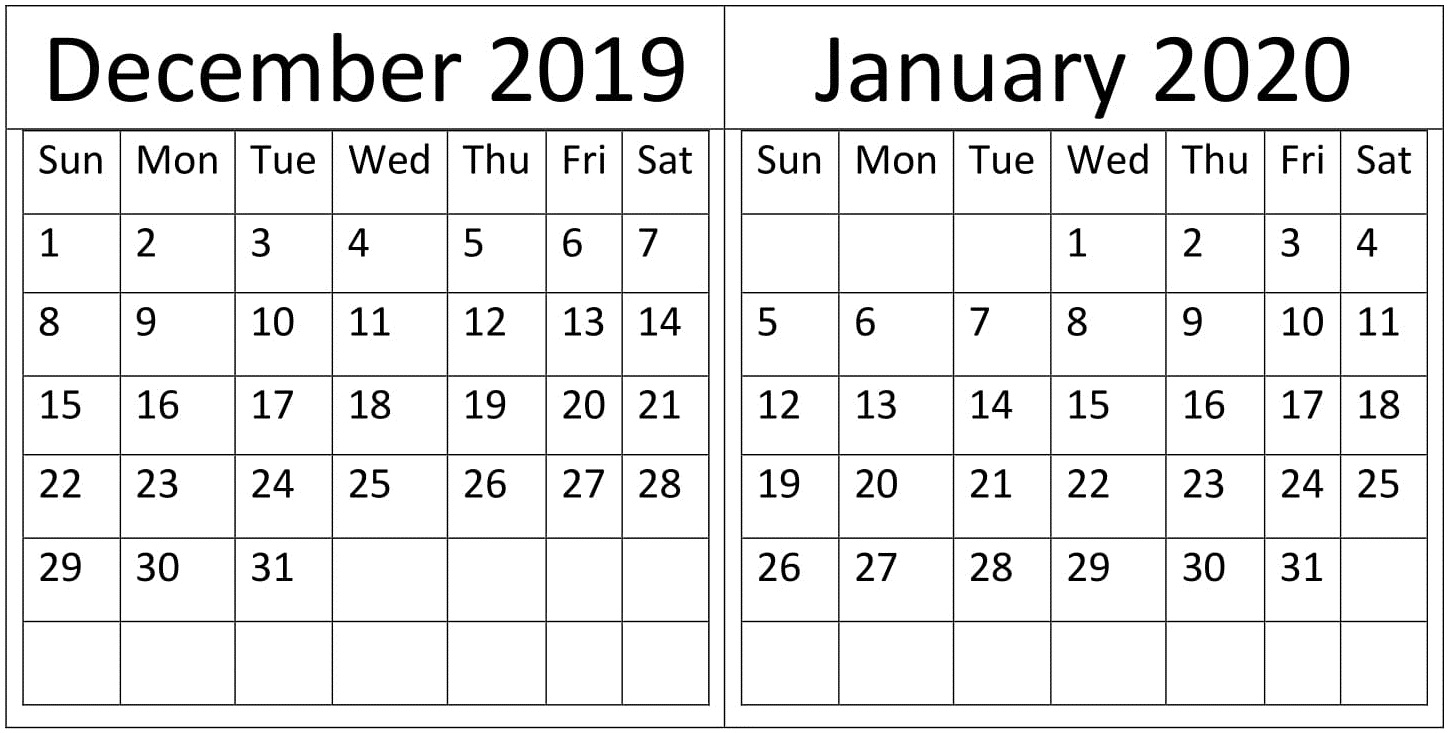 December January 2020 Calendar Holidays Template - Free