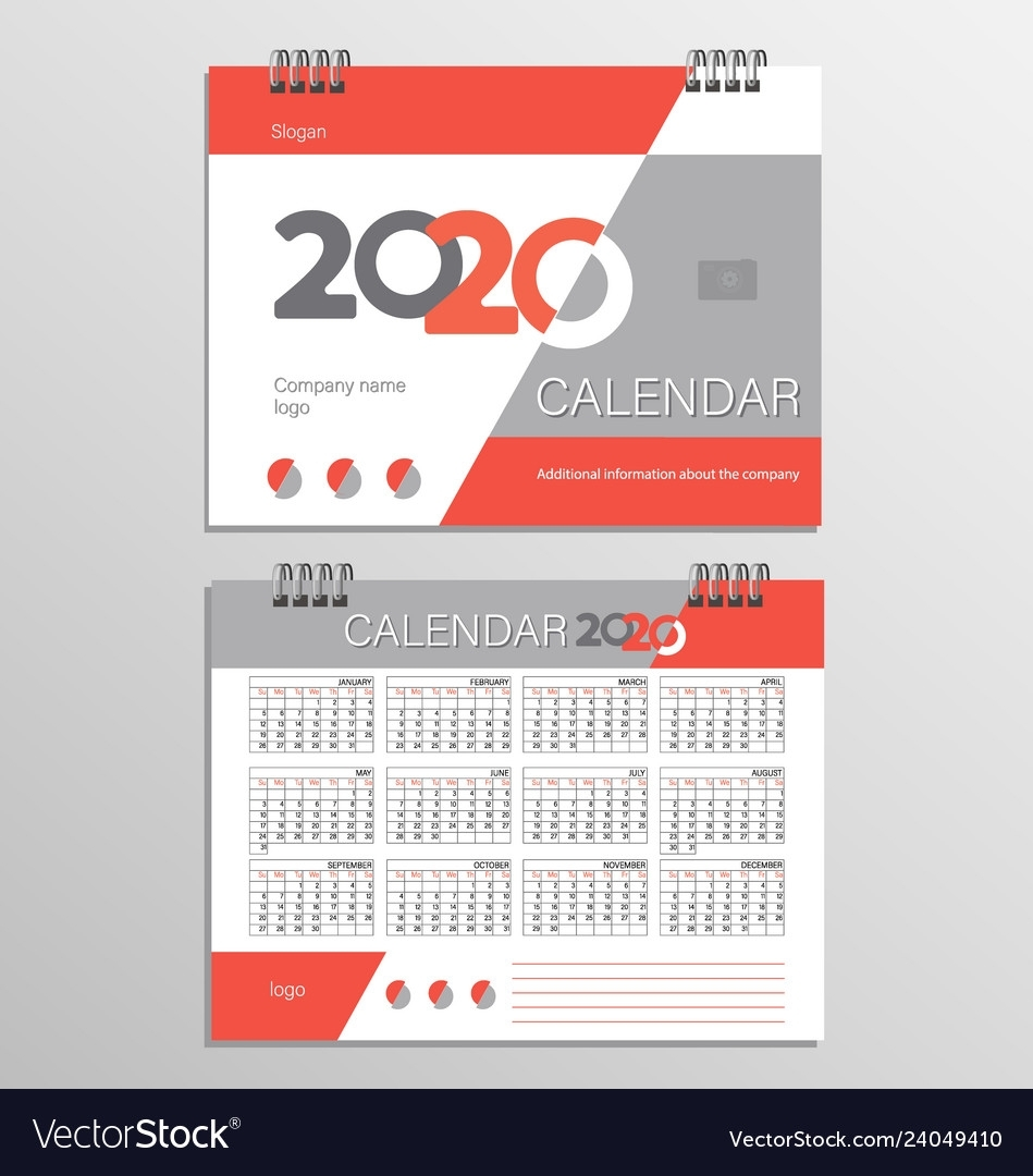 Desk Calendar Template For 2020 Year