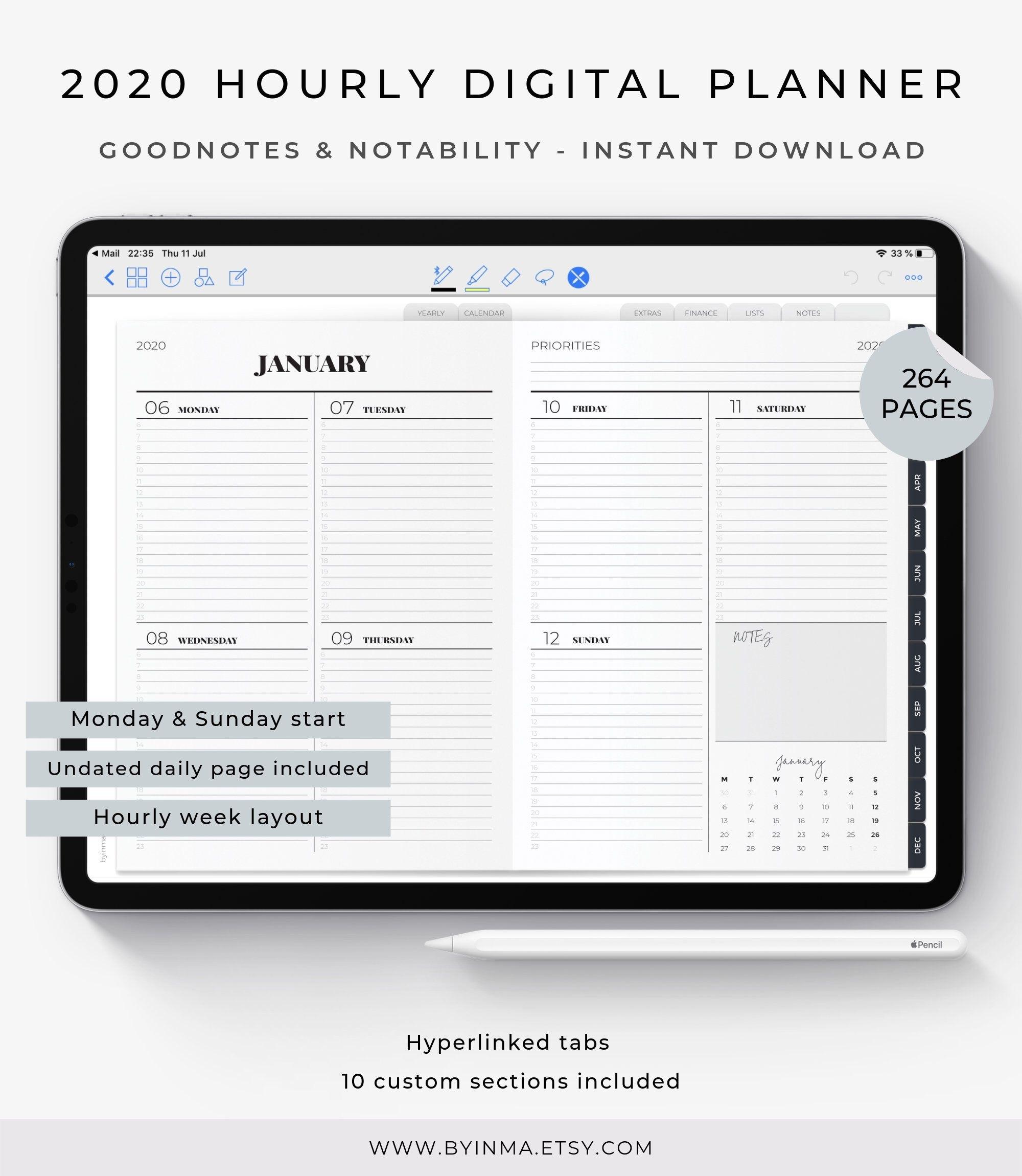 Digital Planner 2020, Goodnotes Planner, Digital Planner For