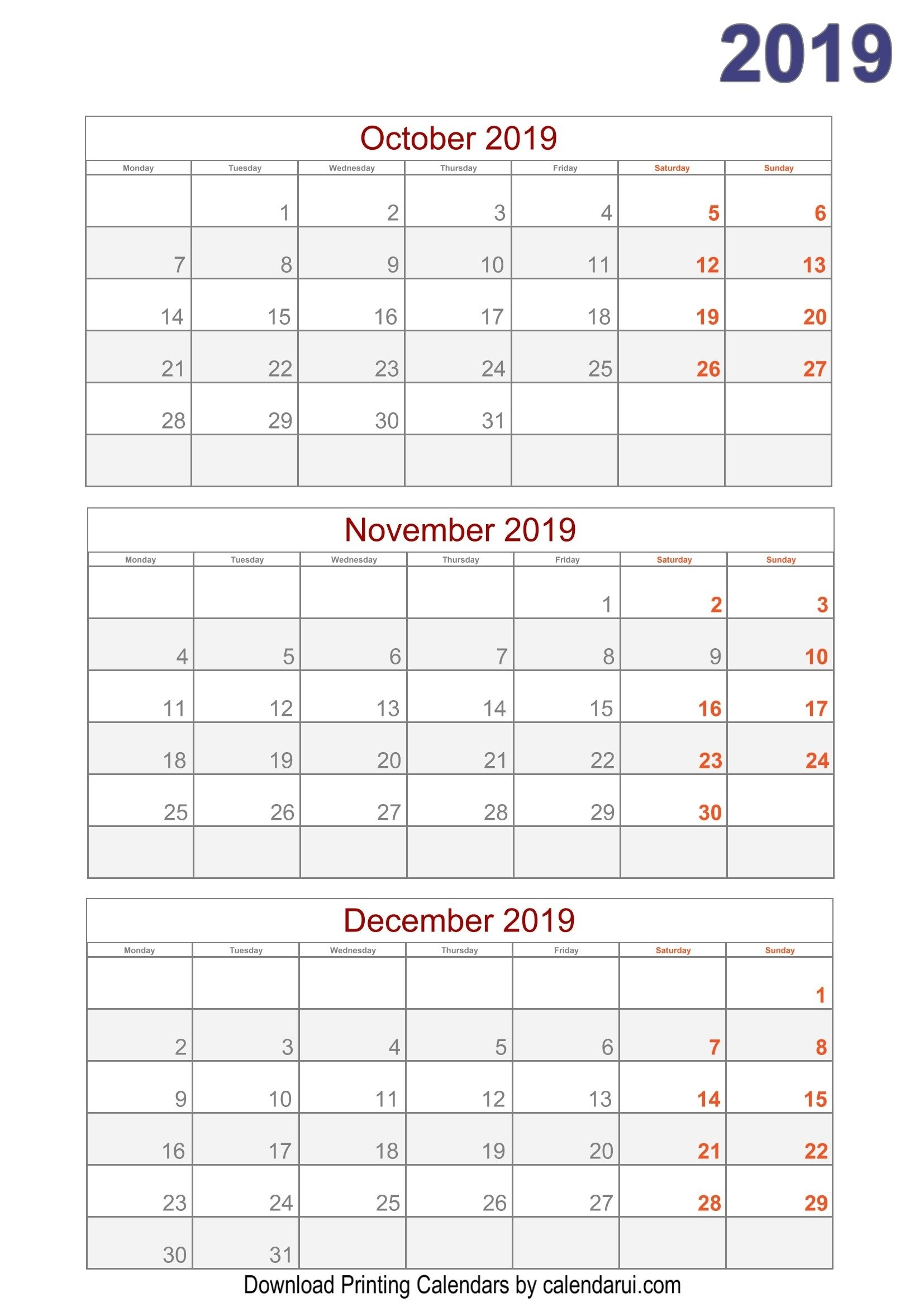 Download 2019 Quarterly Calendar Printable For Free (With