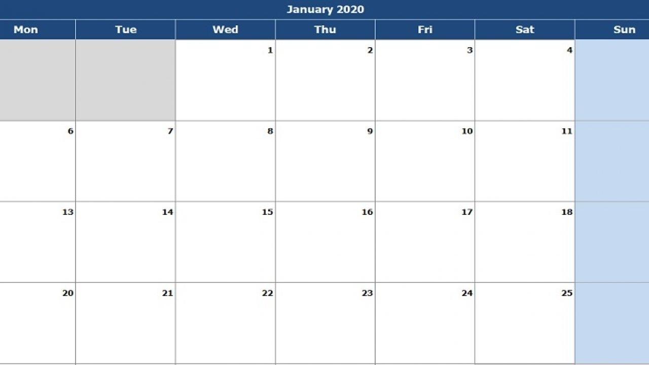 Download 2020 Monthly Calendar (Mon Start) Excel Template