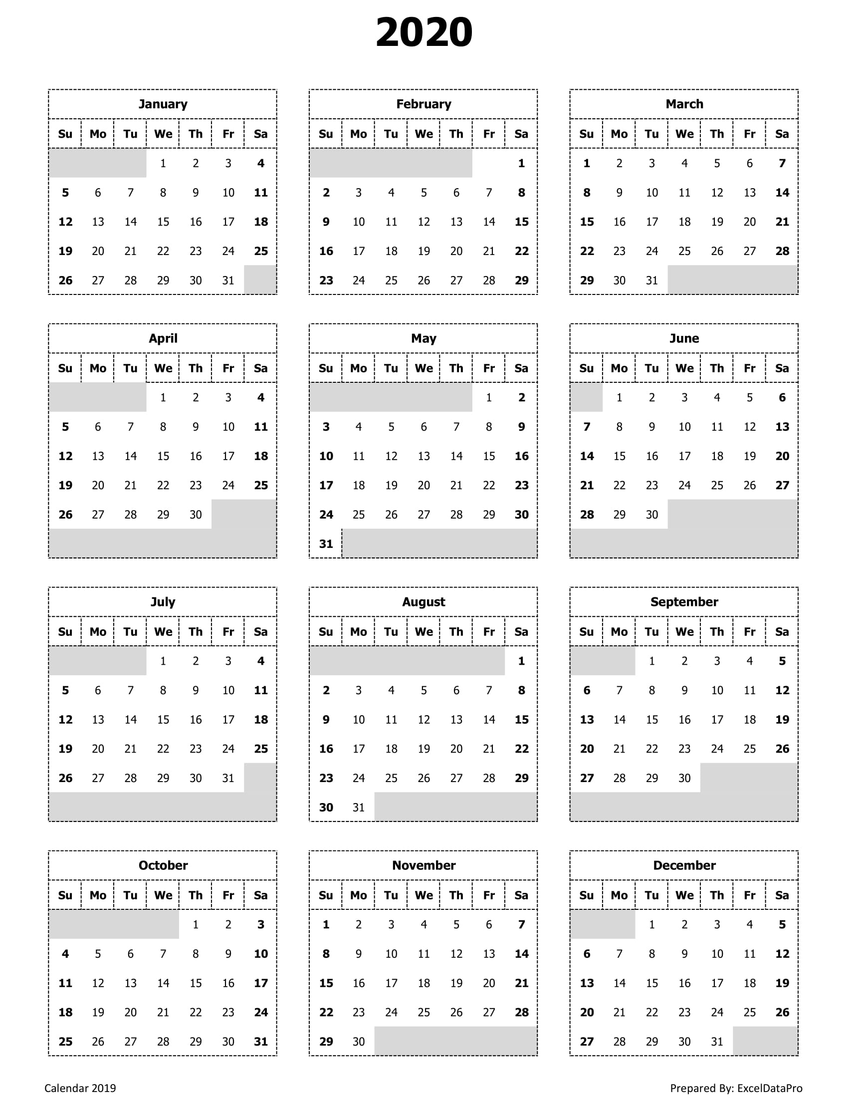 Download 2020 Monthly Calendar (Sun Start) Ink Saver Excel