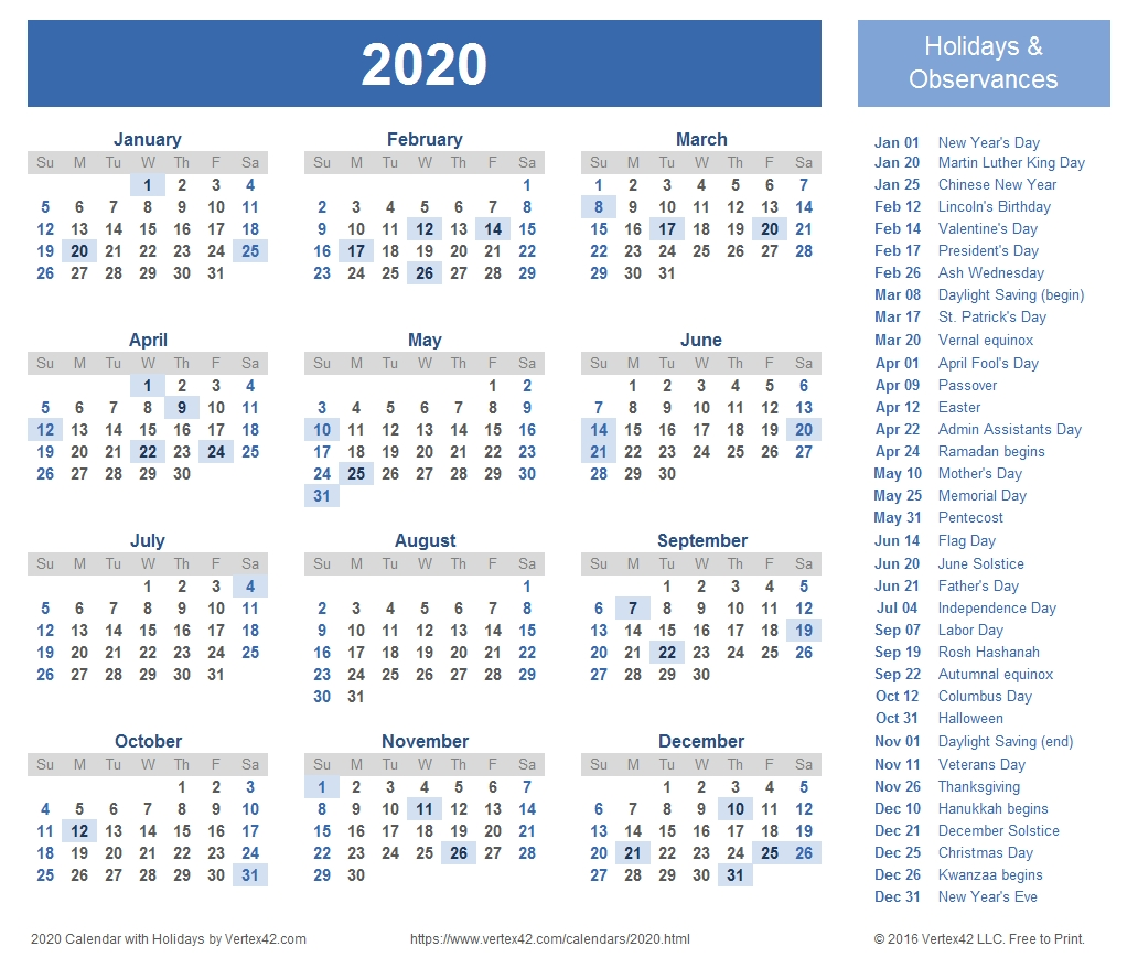 Download A Free Printable 2020 Calendar (Pdf) With Common Us