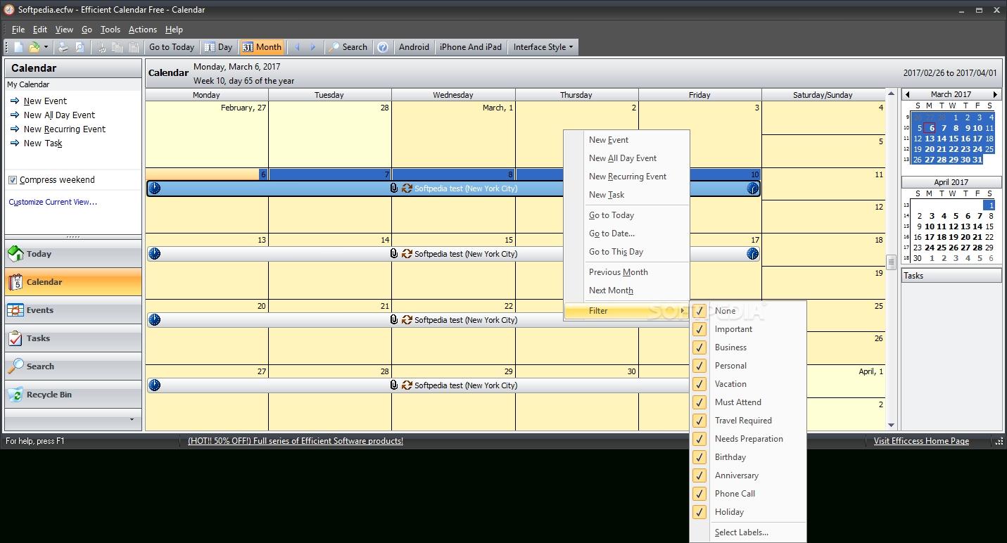 Download Efficient Calendar Free Portable 5.60 Build 555