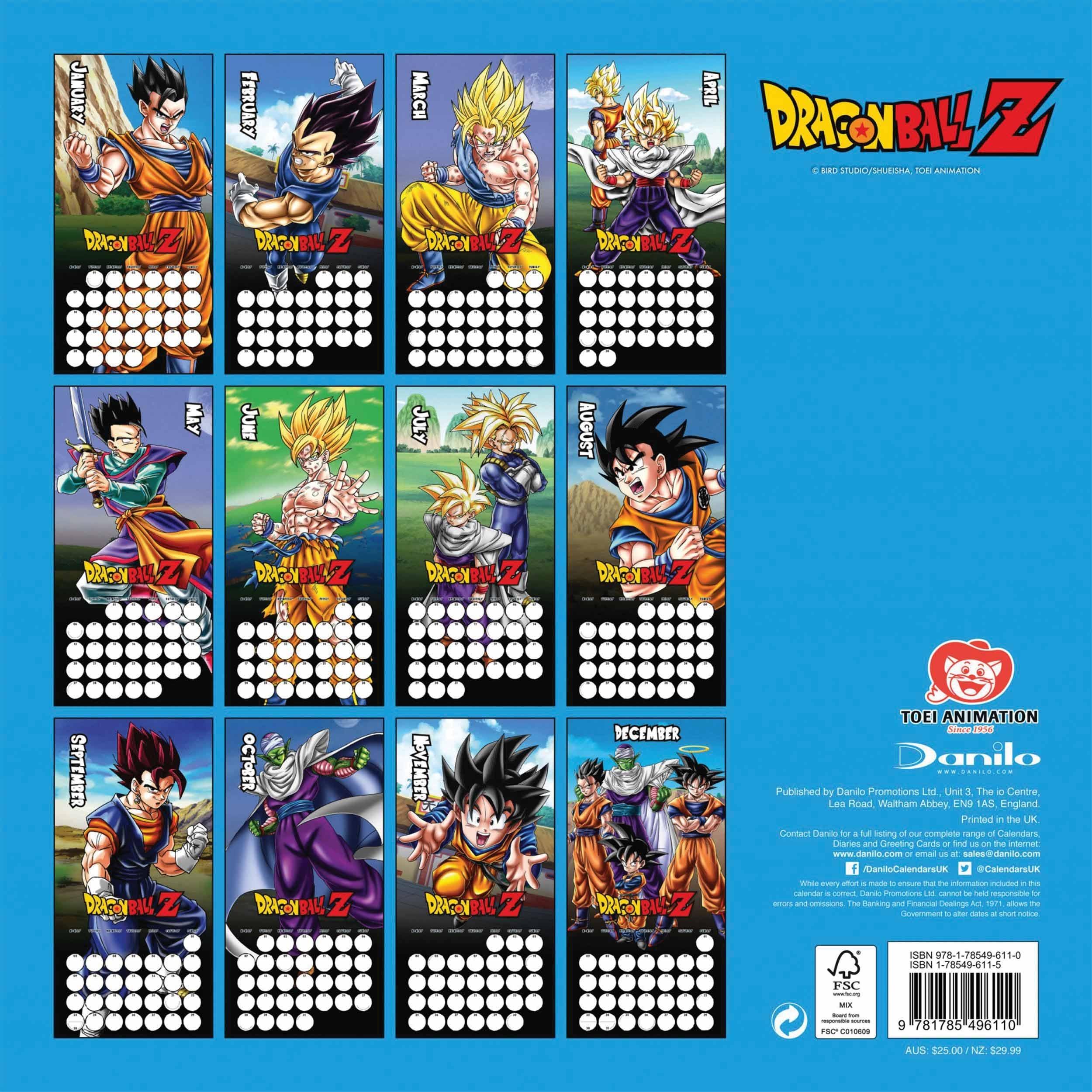 Dragon Ball Z Calendar 2019