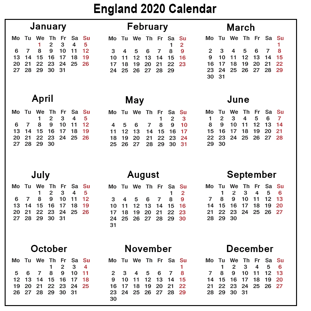 ❤️printable Calendar 2020 Templates With England Public