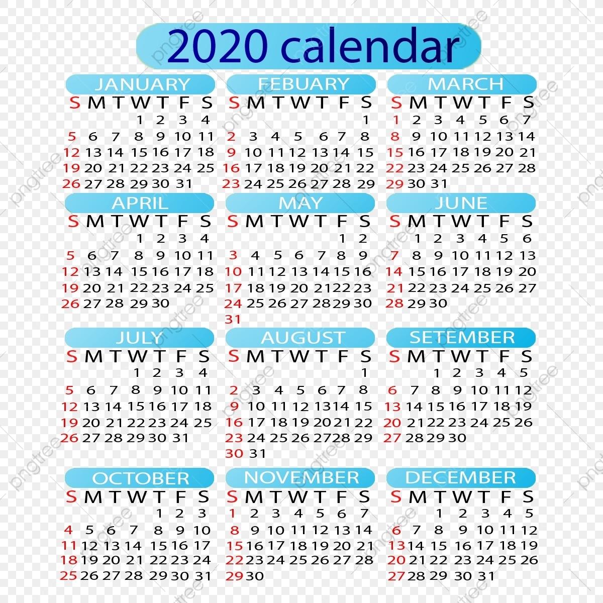 Editable 2020 Calendar, 2020 Calendar, Calendar 2020, Year