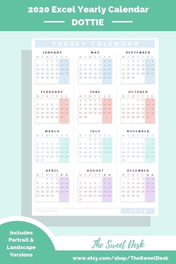 Editable 2020 Excel Yearly Calendar Template | Printable
