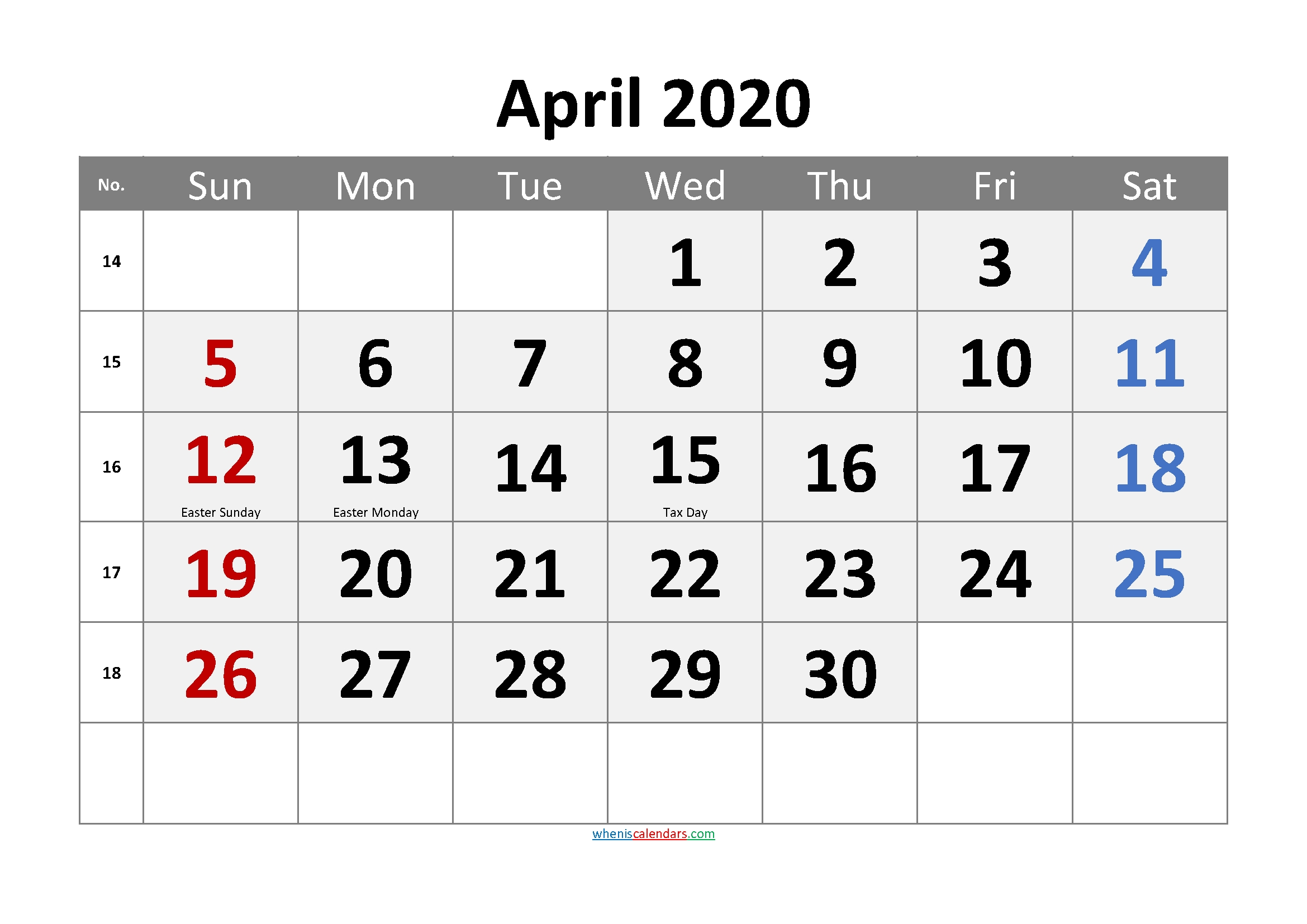 Editable April 2020 Calendar Word-Template No.cr20M64 – Free