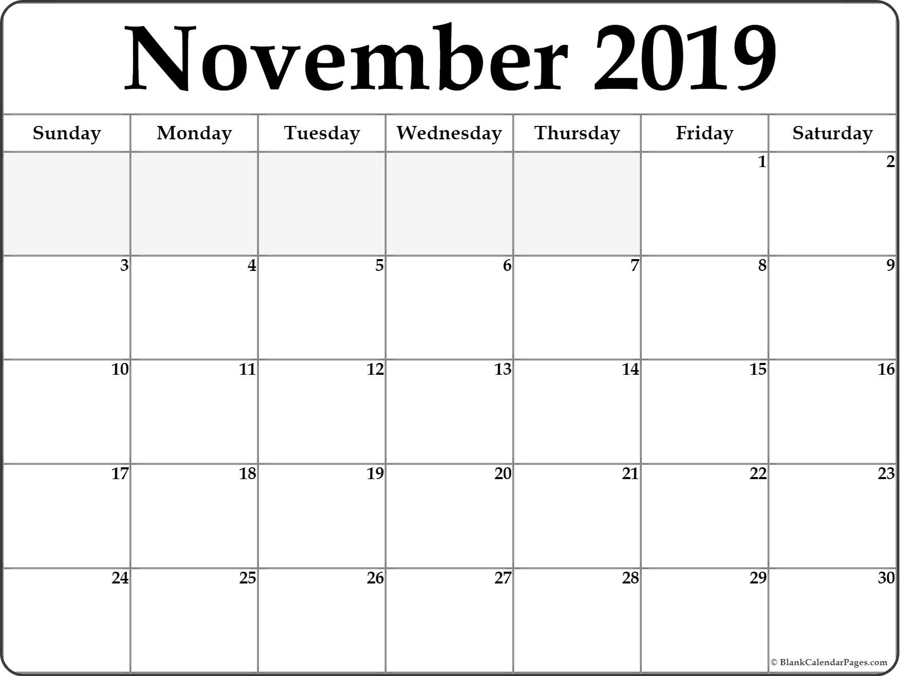 Editable November 2019 Printable Calendar - Word, Pdf, Excel
