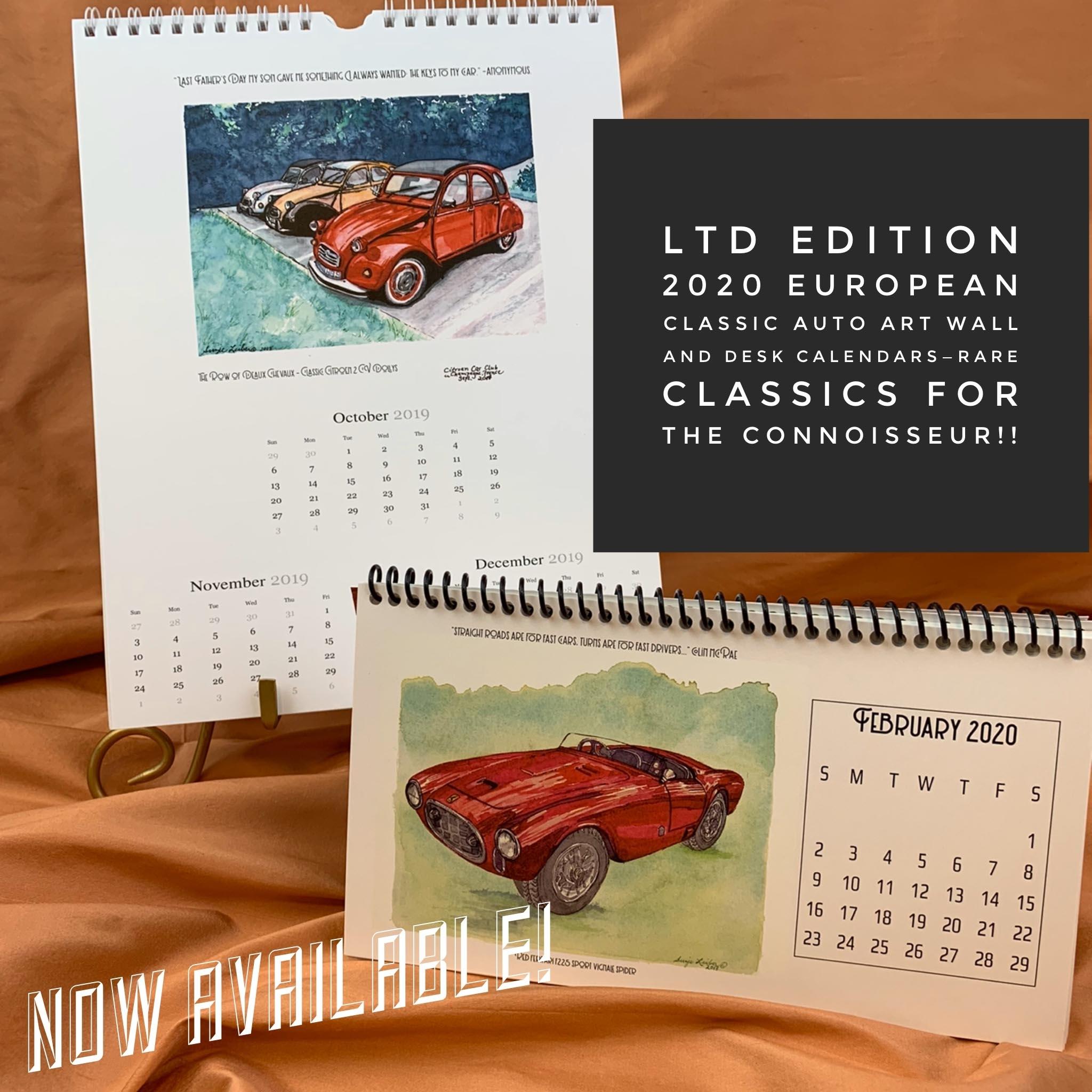 European Classic Cars 2020 Desk Calendar