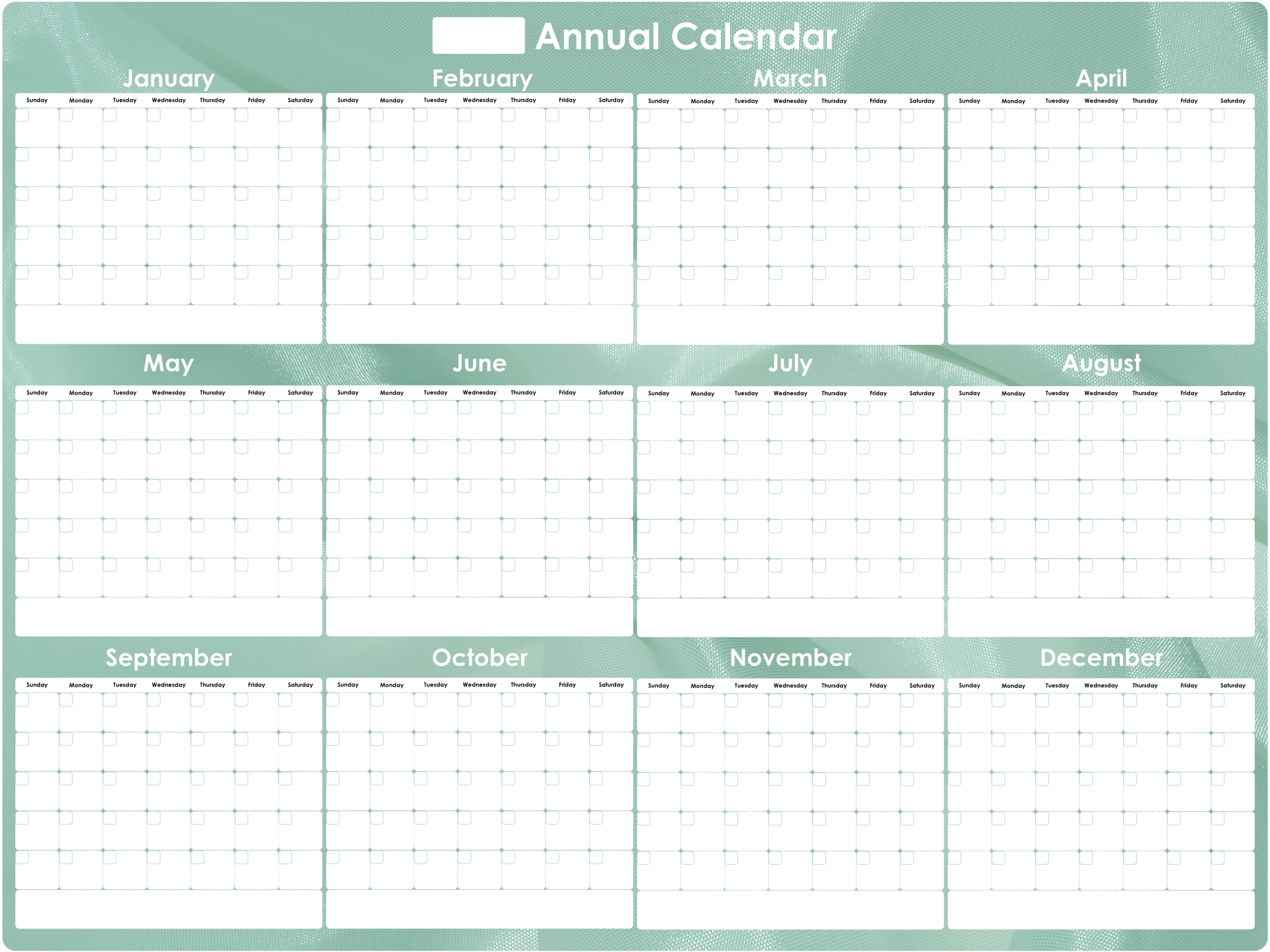 Everase Re-Stic Dry Erase Surface – Annual Calendar, 3 X 4 Ft.