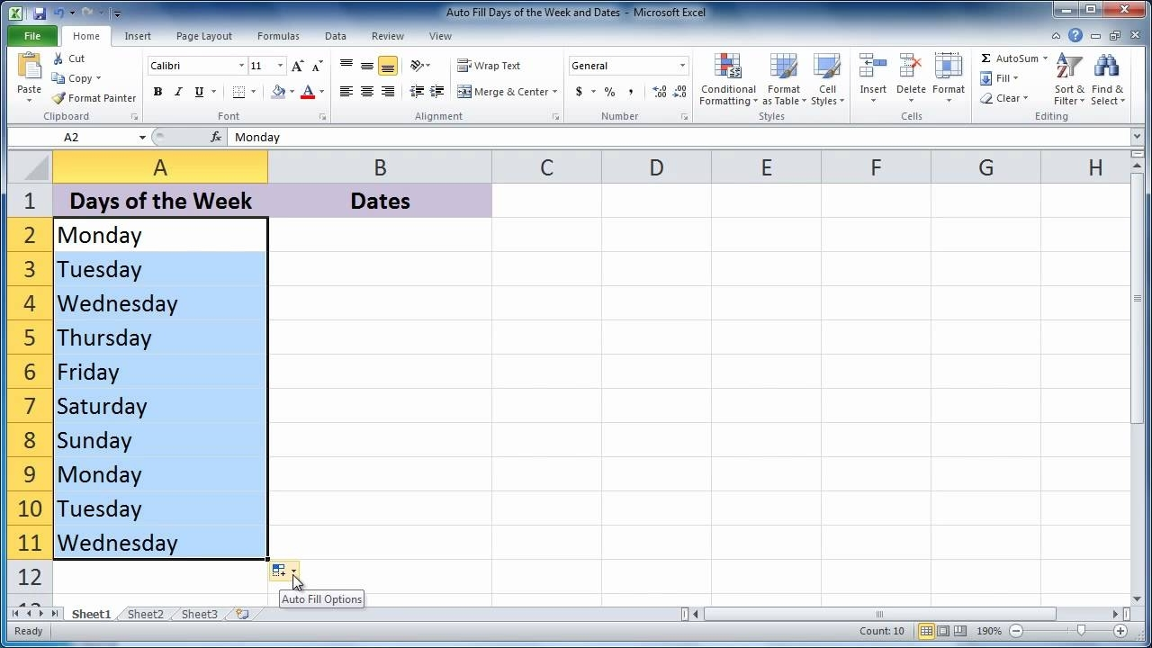 Excel 2010 - Auto Fill Days Of The Week And Dates