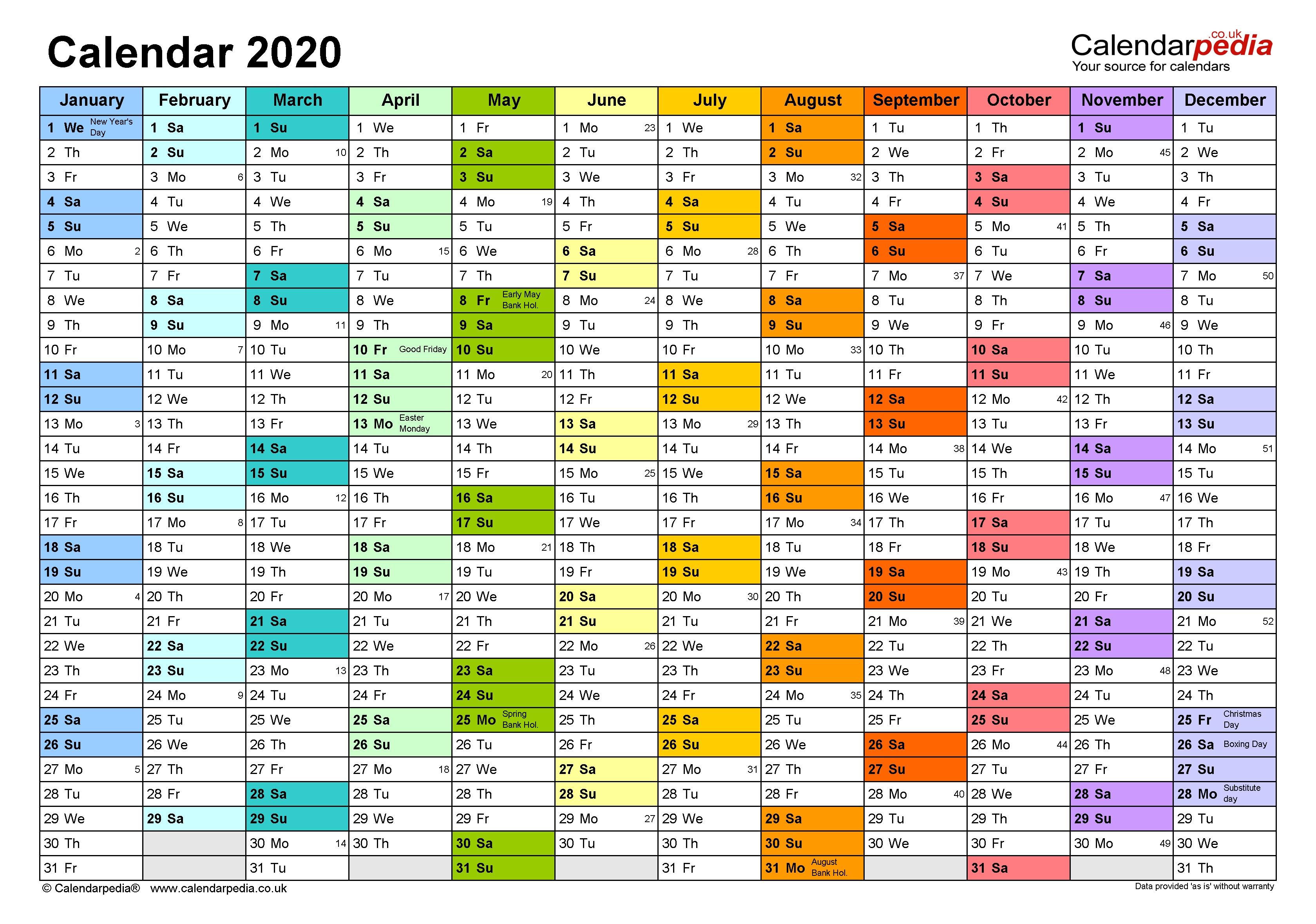 Excel Calendar 2020 (Uk) | 17 Printable Templates (Xlsx, Free)