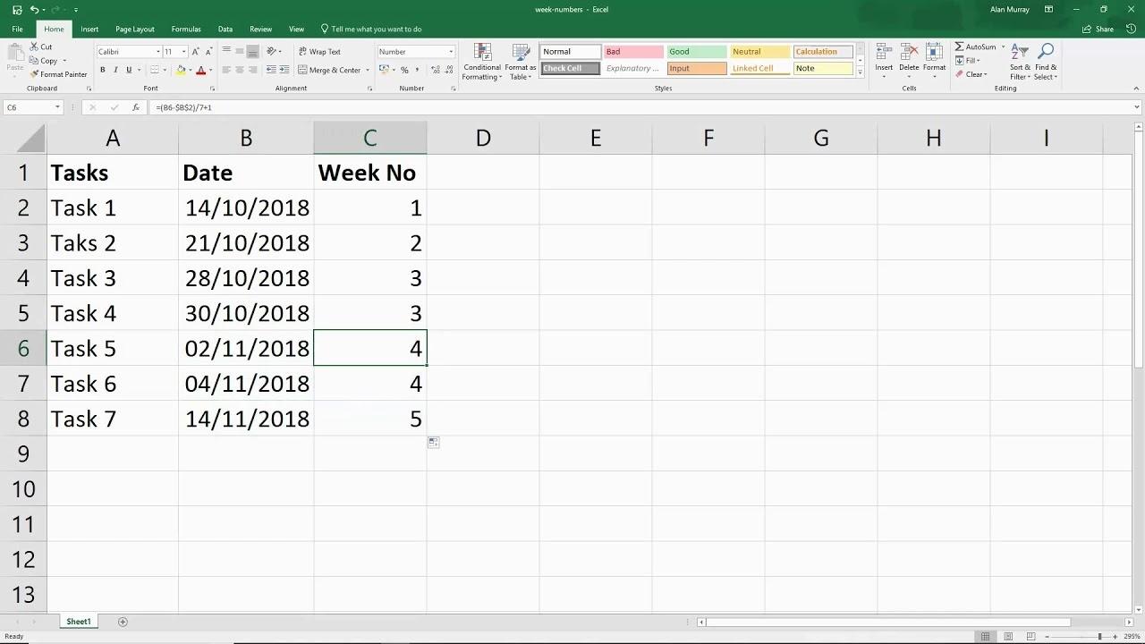 Calendar Week In Excel Formula